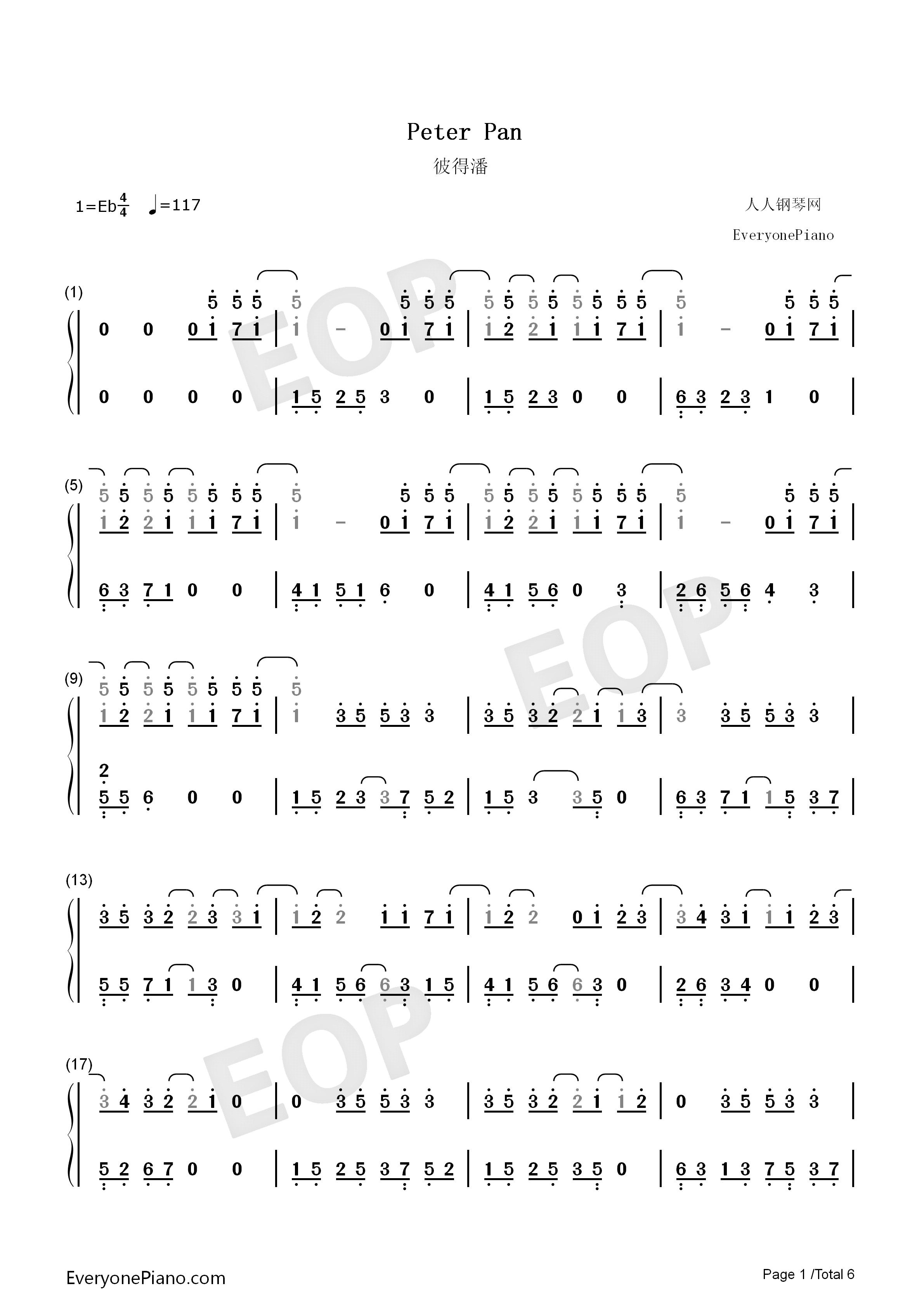 Peter pan exo numbered musical notation preview 1 free piano listen now print sheet peter pan exo numbered musical notation preview 1 hexwebz Images