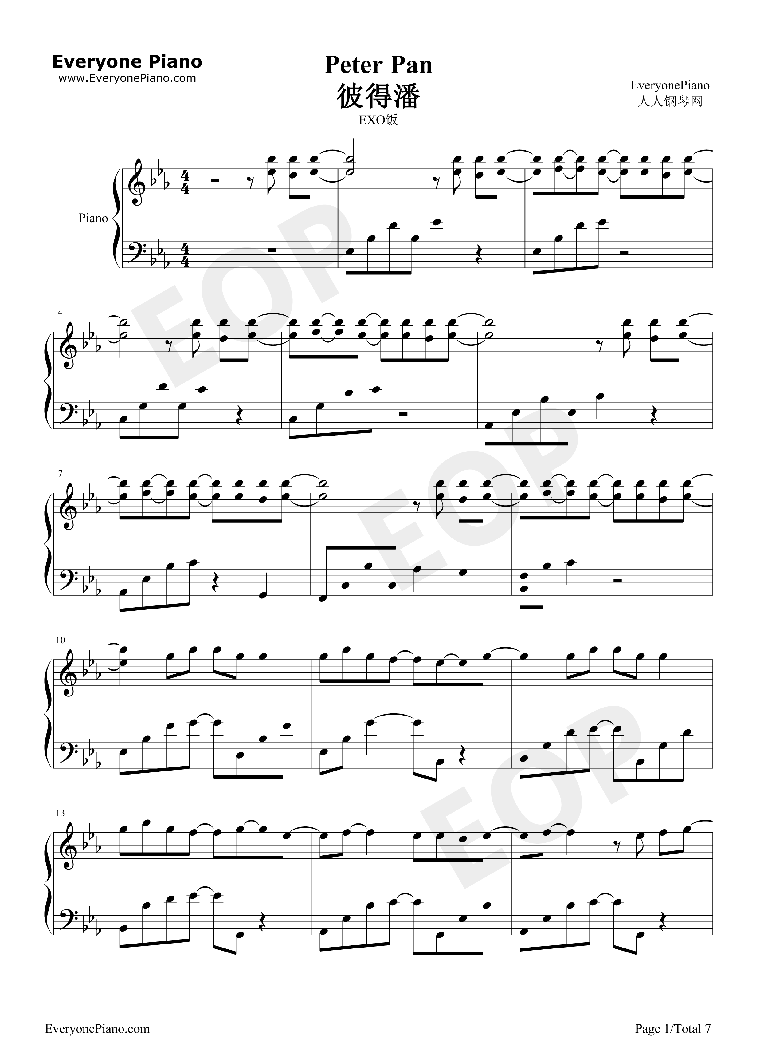 Peter pan exo stave preview 1 free piano sheet music piano chords listen now print sheet peter pan exo stave preview 1 hexwebz Images