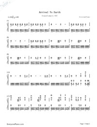 Arrival to Earth - 2007 Film Transformers OST Numbered Musical Notation Preview 1