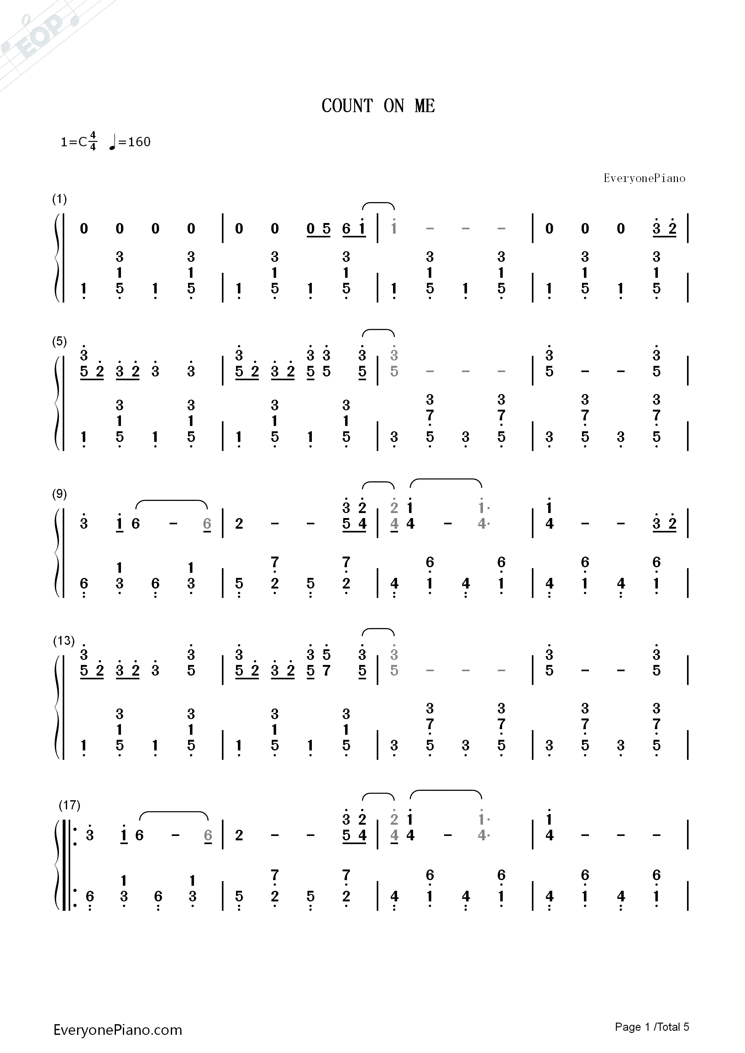 Count on me bruno mars numbered musical notation preview 1 free listen now print sheet count on me bruno mars numbered musical notation preview 1 hexwebz Image collections