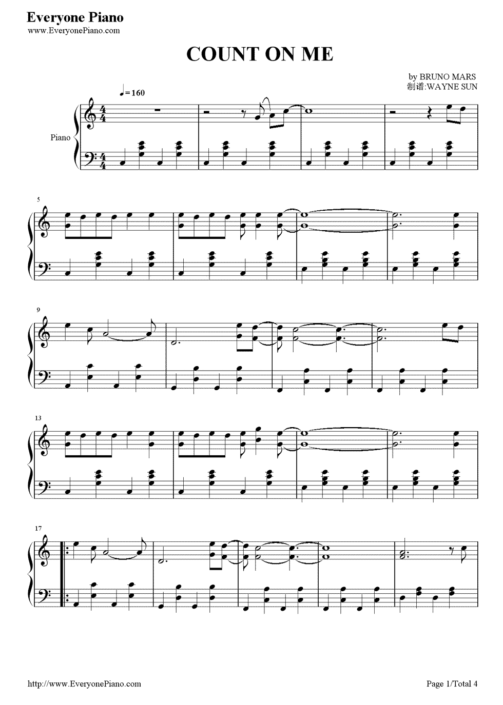 Count on me bruno mars stave preview 1 free piano sheet music listen now print sheet count on me bruno mars stave preview 1 hexwebz Image collections