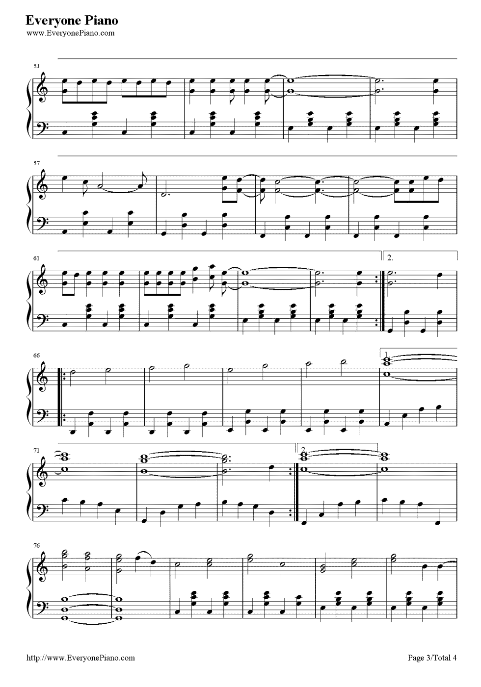 Count On Me-Bruno Mars Stave Preview 3-Free Piano Sheet Music u0026 Piano Chords