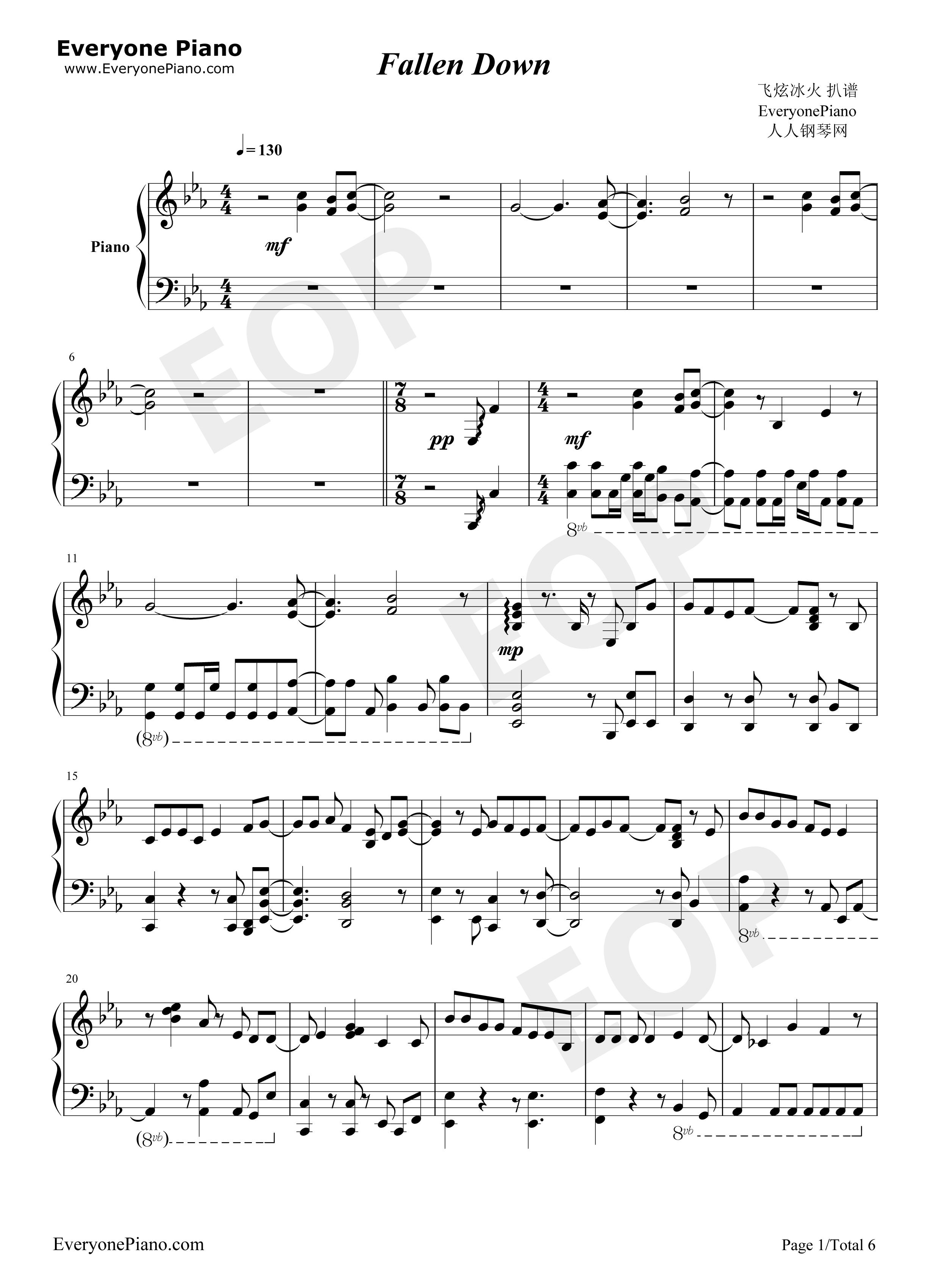 Fallen down sora no otoshimono free piano sheet music piano chords fallen down sora no otoshimono stave preview 1 hexwebz Image collections