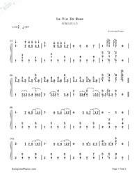LA VIE EN ROSE - Richard Clayderman-Numbered-Musical-Notation-Preview-1
