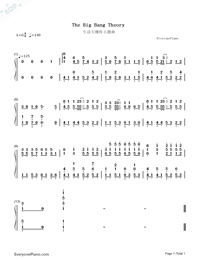 The Big Bang Theory Theme song-Numbered-Musical-Notation-Preview-1