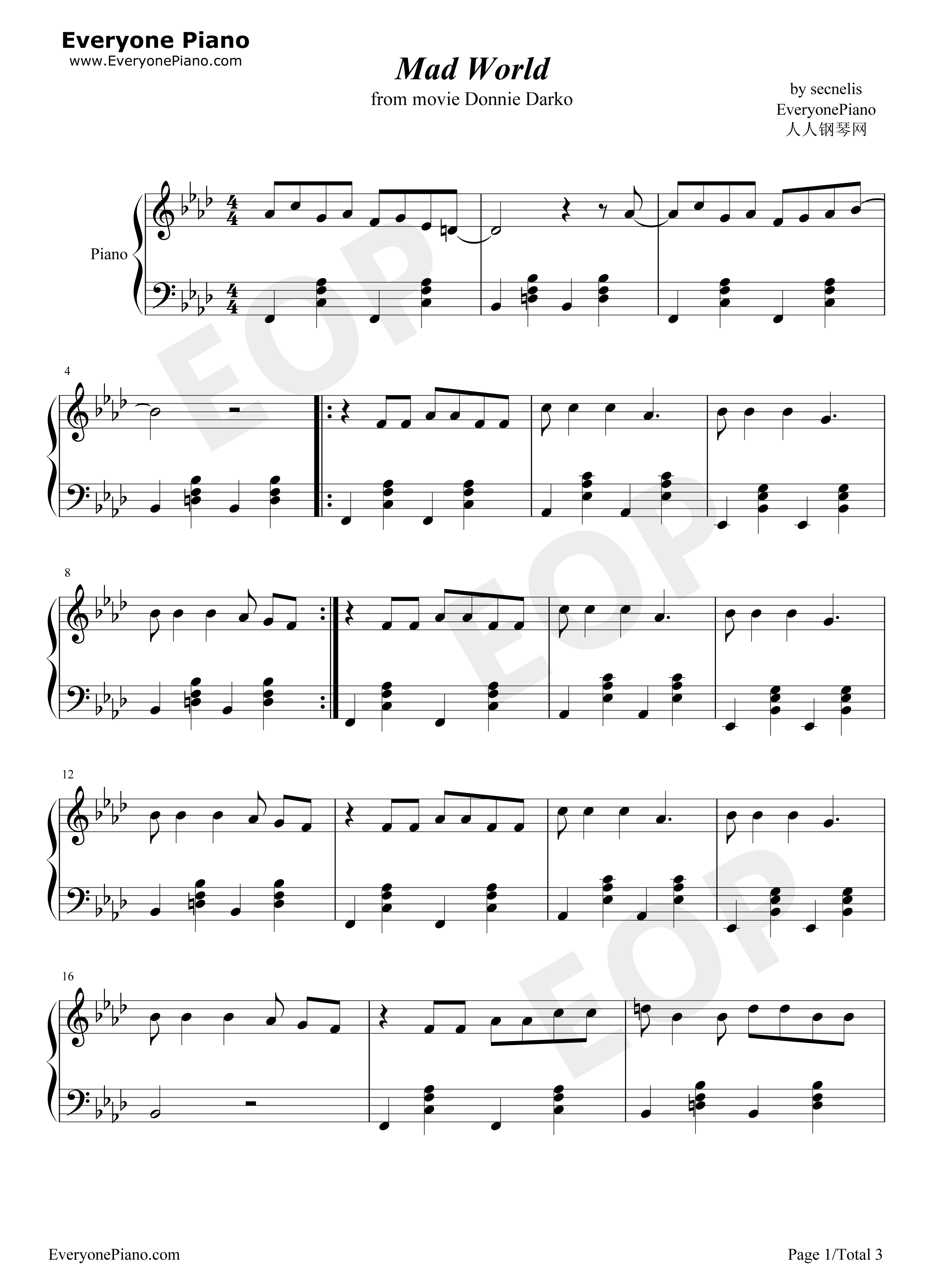 Mad World - Donnie Darko Theme Stave Preview 1-Free Piano Sheet Music u0026 Piano Chords