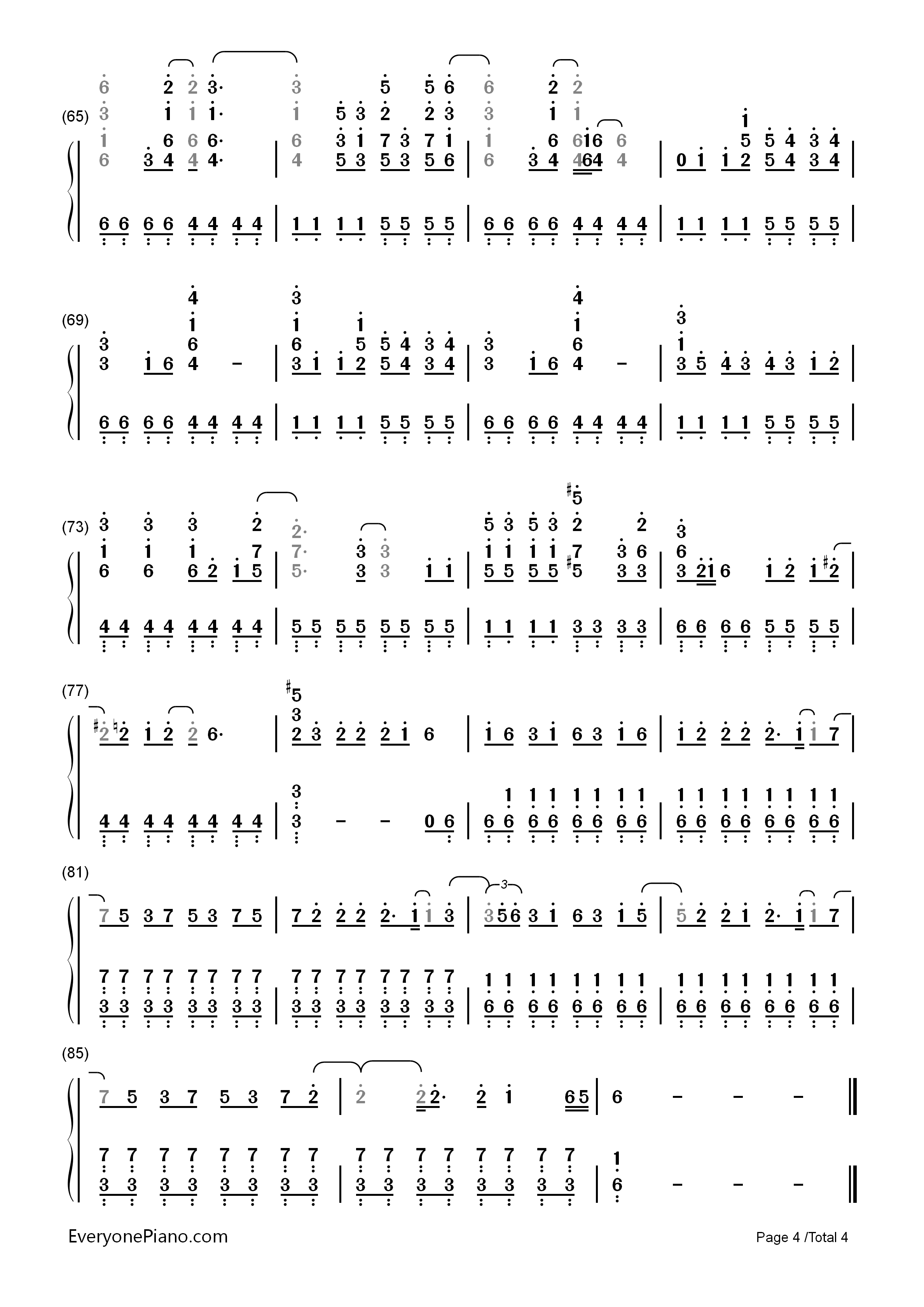Grenade - Bruno Mars Numbered Musical Notation Preview 4