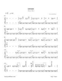 Grenade - Bruno Mars Numbered Musical Notation Preview 1