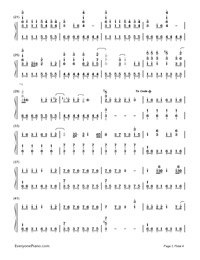 Grenade - Bruno Mars Numbered Musical Notation Preview 2
