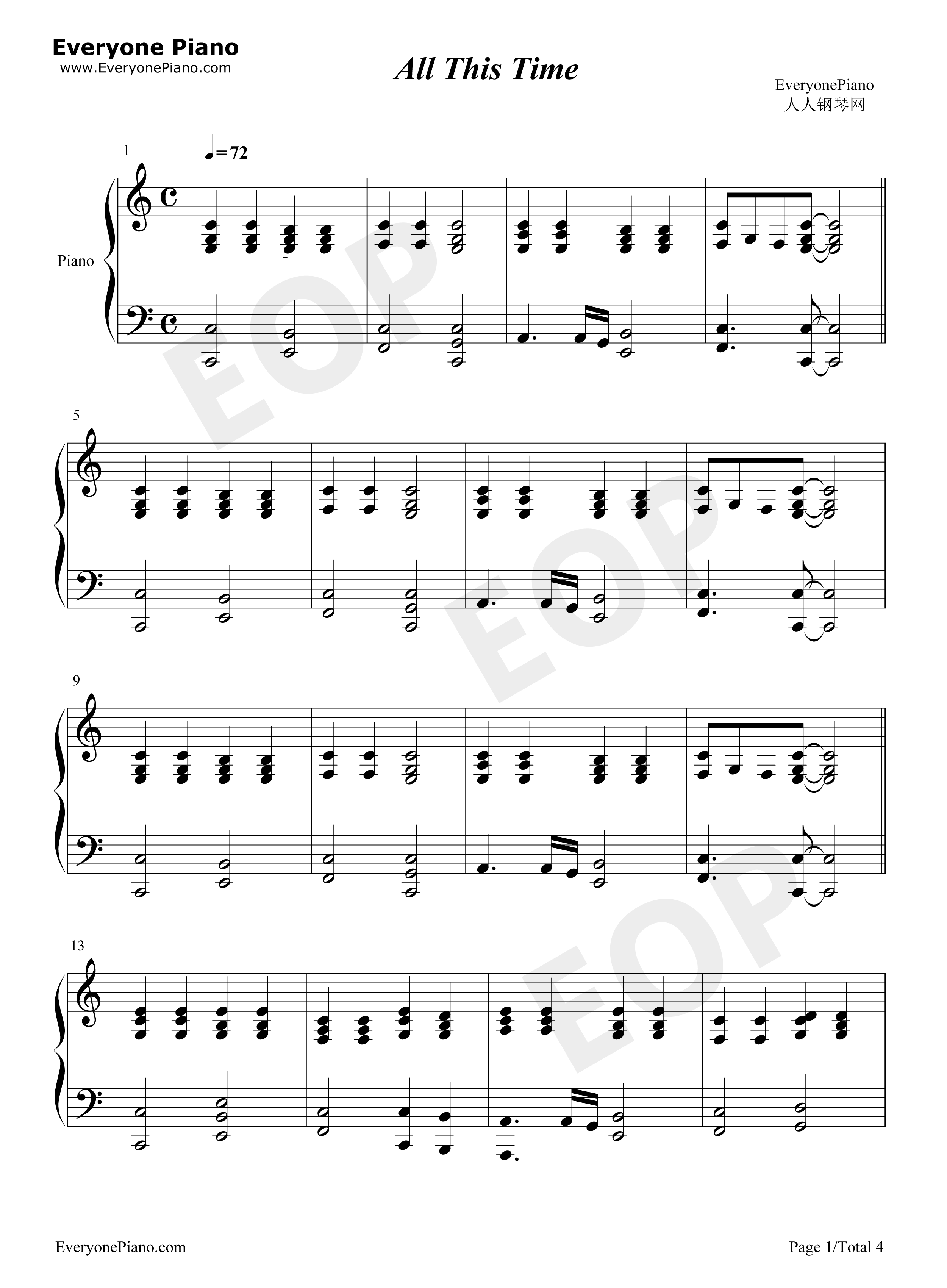 All this time chord stave preview 1 free piano sheet music listen now print sheet all this time chord stave preview 1 hexwebz Image collections
