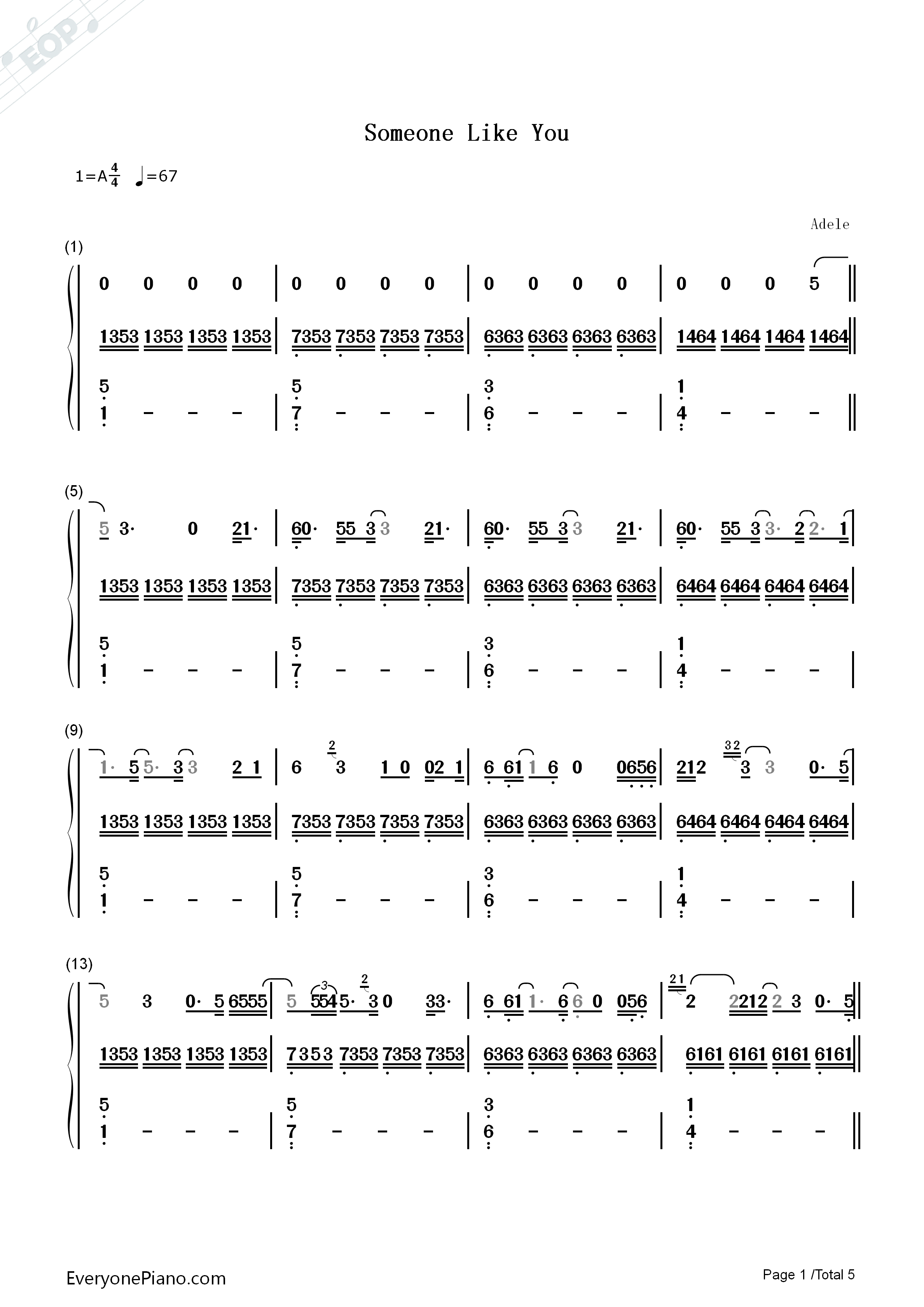 Someone like you original version adele numbered musical notation listen now print sheet someone like you original version adele numbered musical notation preview 1 hexwebz Image collections