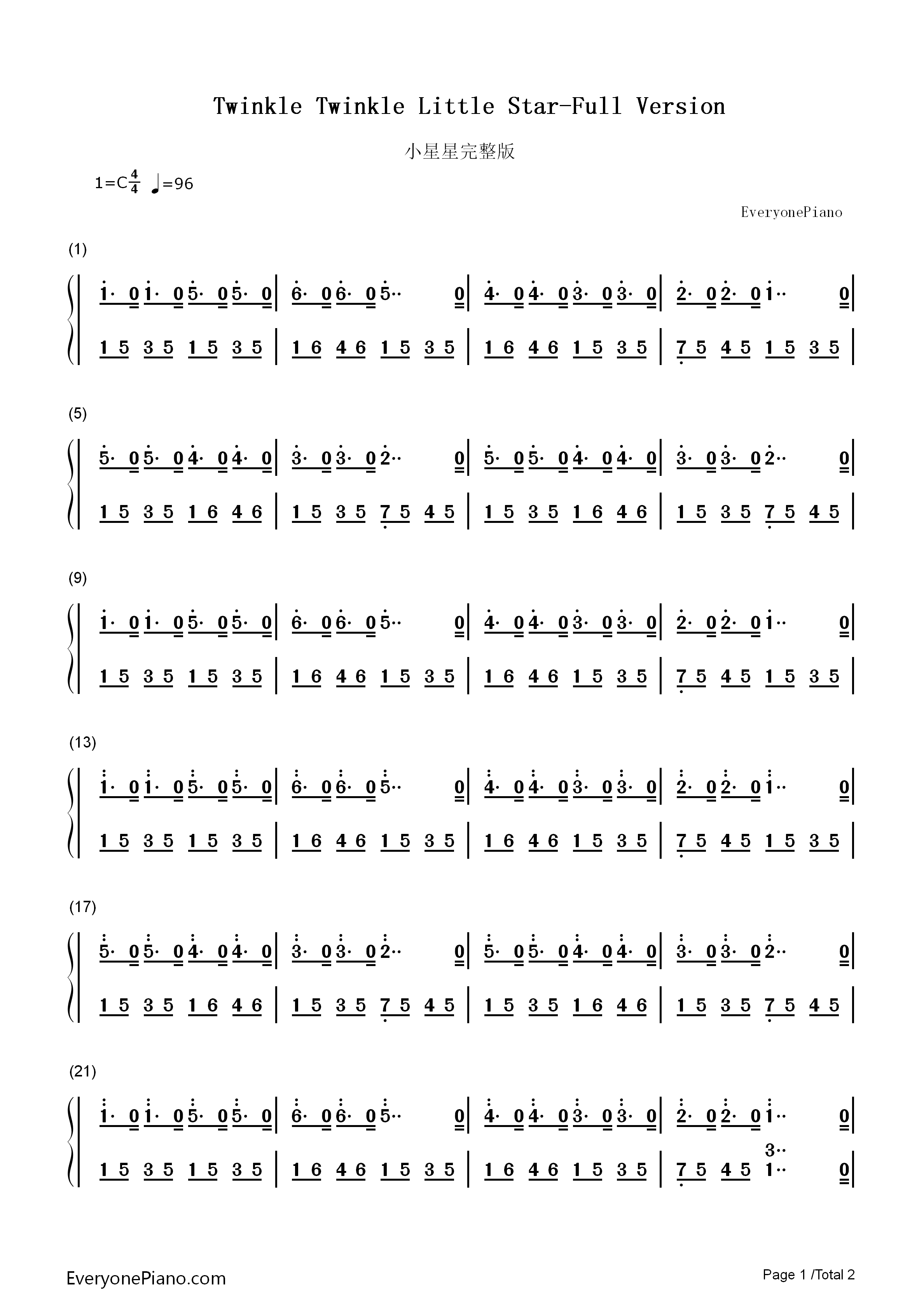 Twinkle twinkle little star full version numbered musical notation listen now print sheet twinkle twinkle little star full version numbered musical notation preview 1 hexwebz Gallery