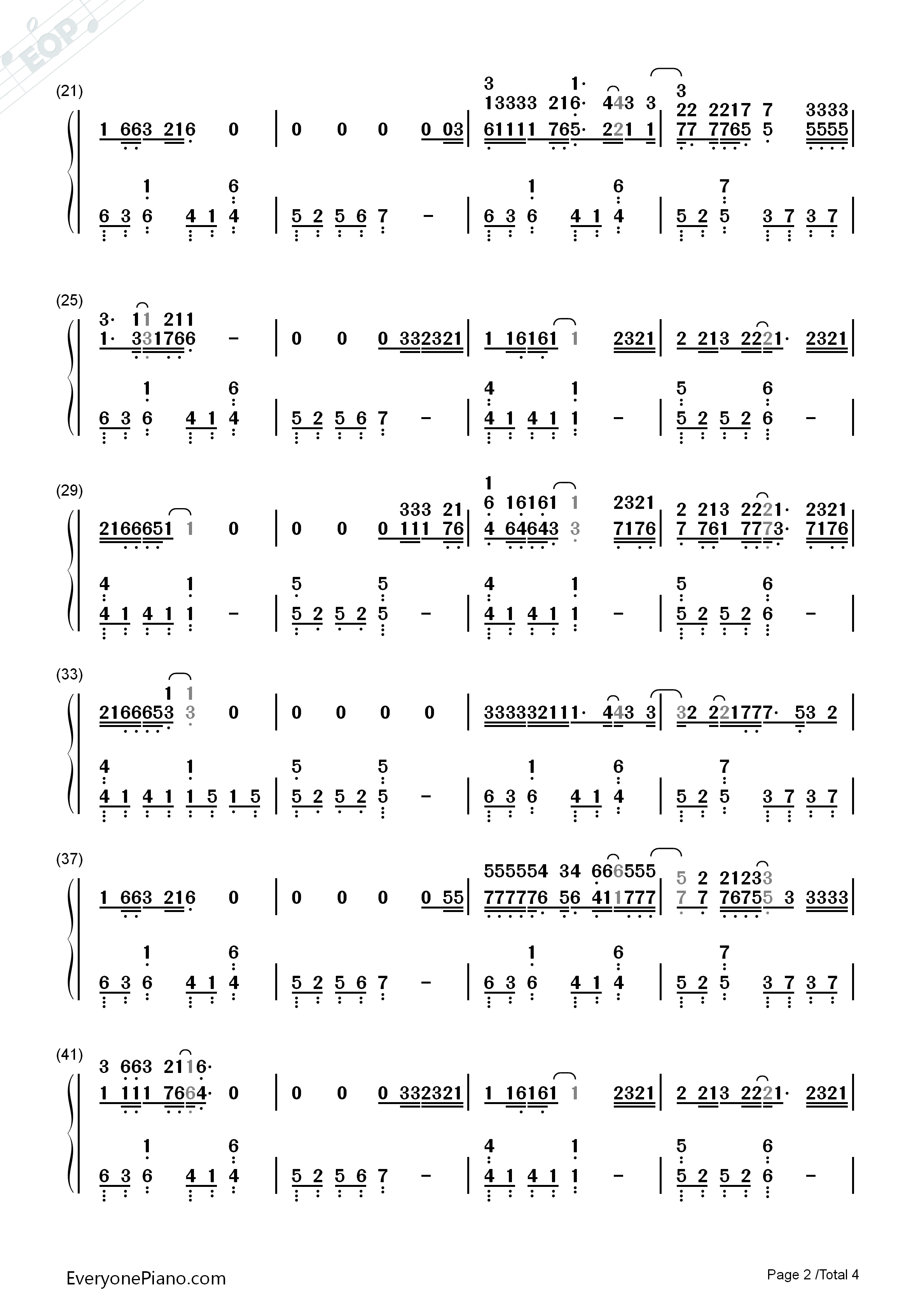 Let Her Go-Passenger Numbered Musical Notation Preview 2