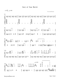 Part of Your World-The Little Mermaid OST-Numbered-Musical-Notation-Preview-1