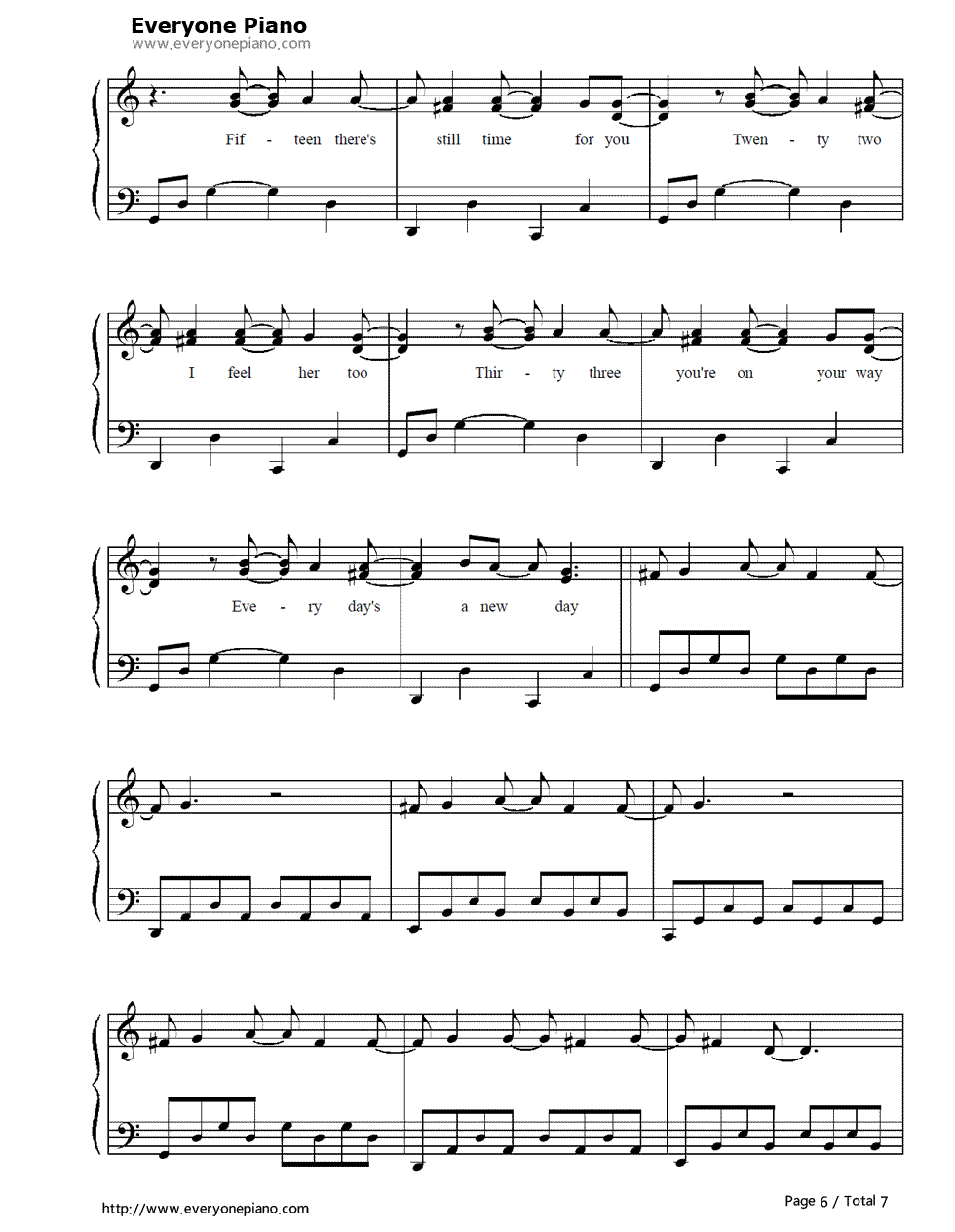 100 Years-Five For Fighting Free Piano Sheet Music & Piano Chords