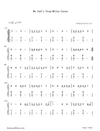 We Can't Stop- Miley Cyrus-Numbered-Musical-Notation-Preview-1
