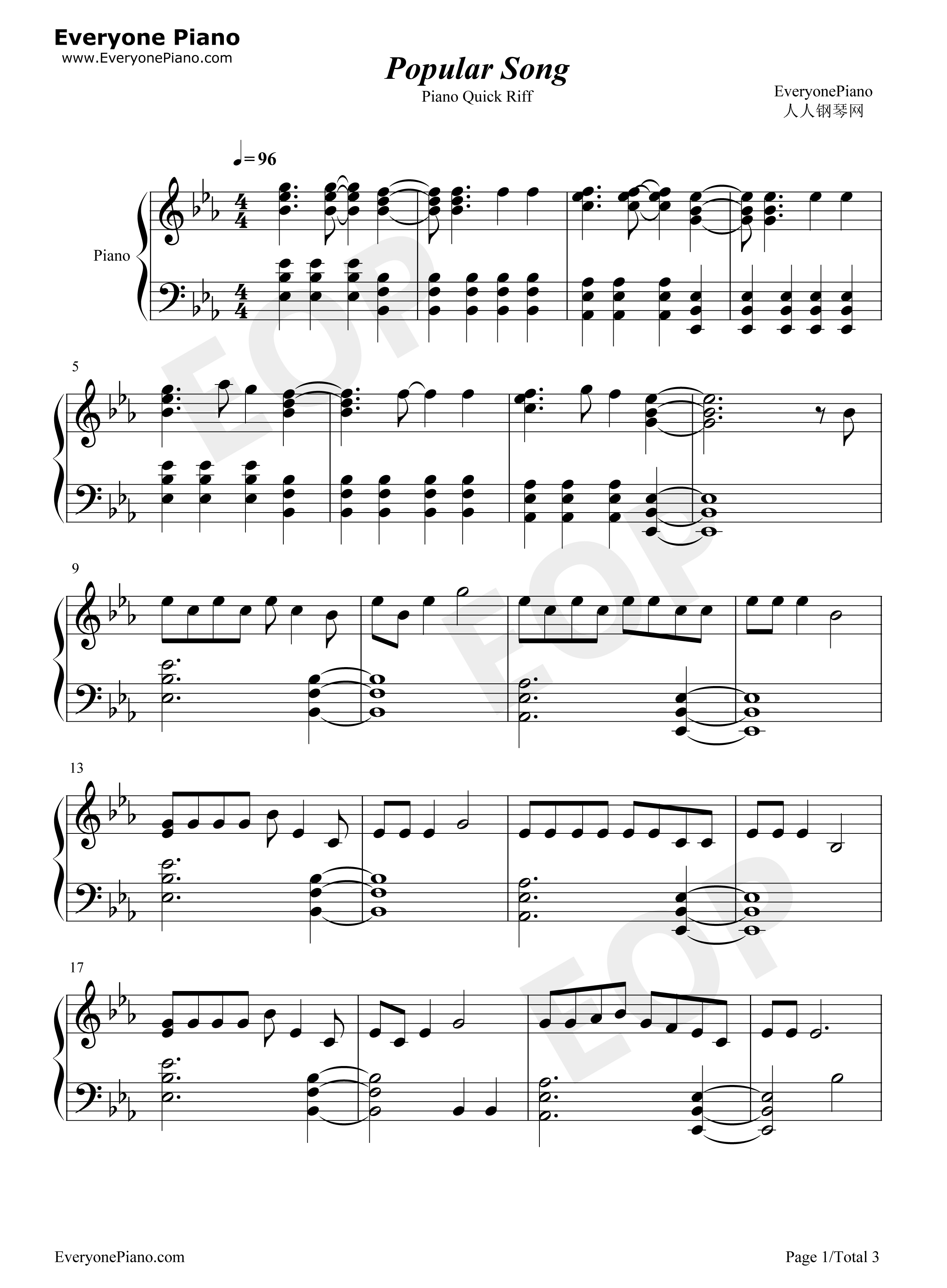 Popular Song- Mika u0026 Ariana Grande Stave Preview 1-Free Piano Sheet Music u0026 Piano Chords
