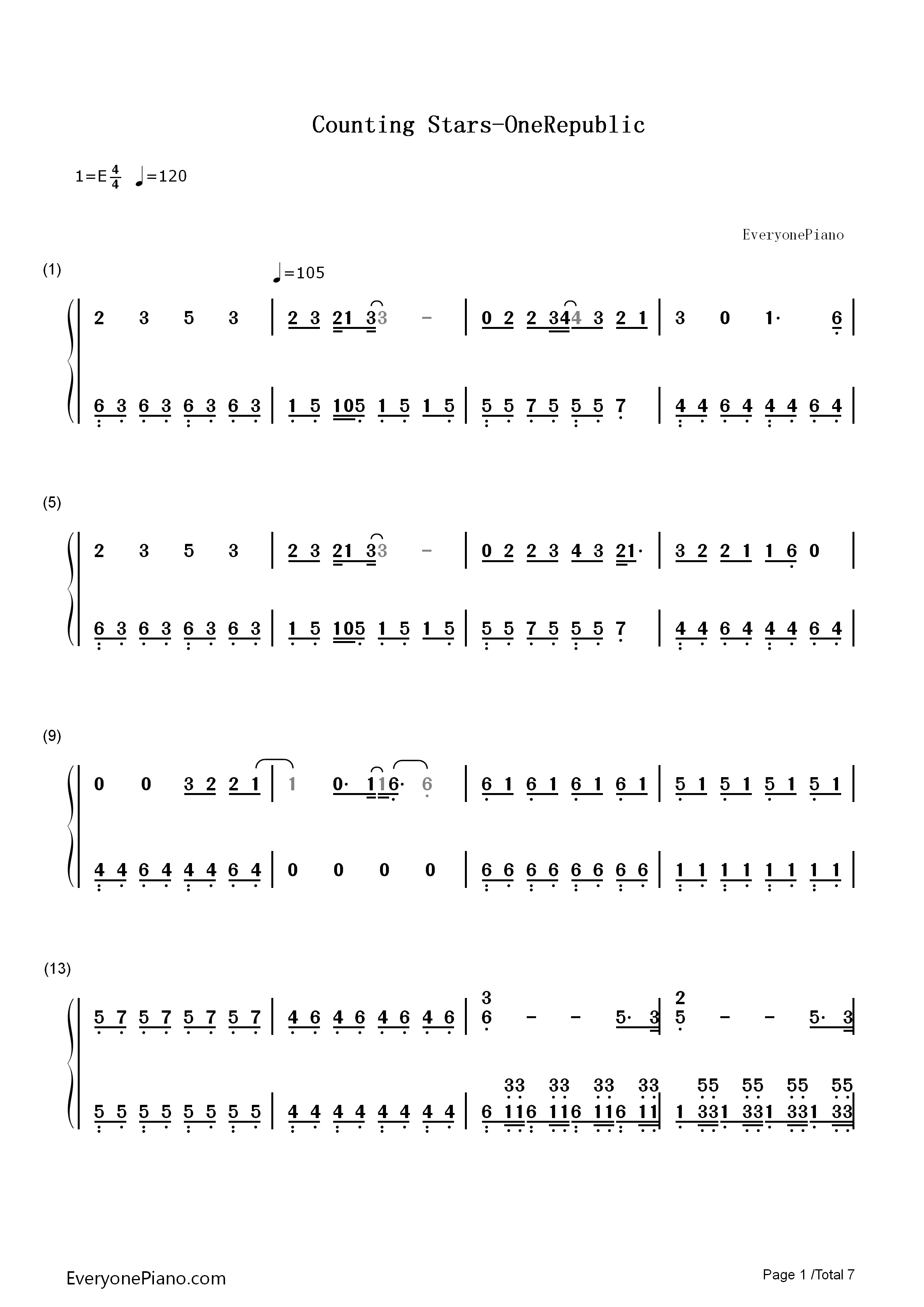 Counting stars onerepublic numbered musical notation preview 1 listen now print sheet counting stars onerepublic numbered musical notation preview 1 hexwebz Images