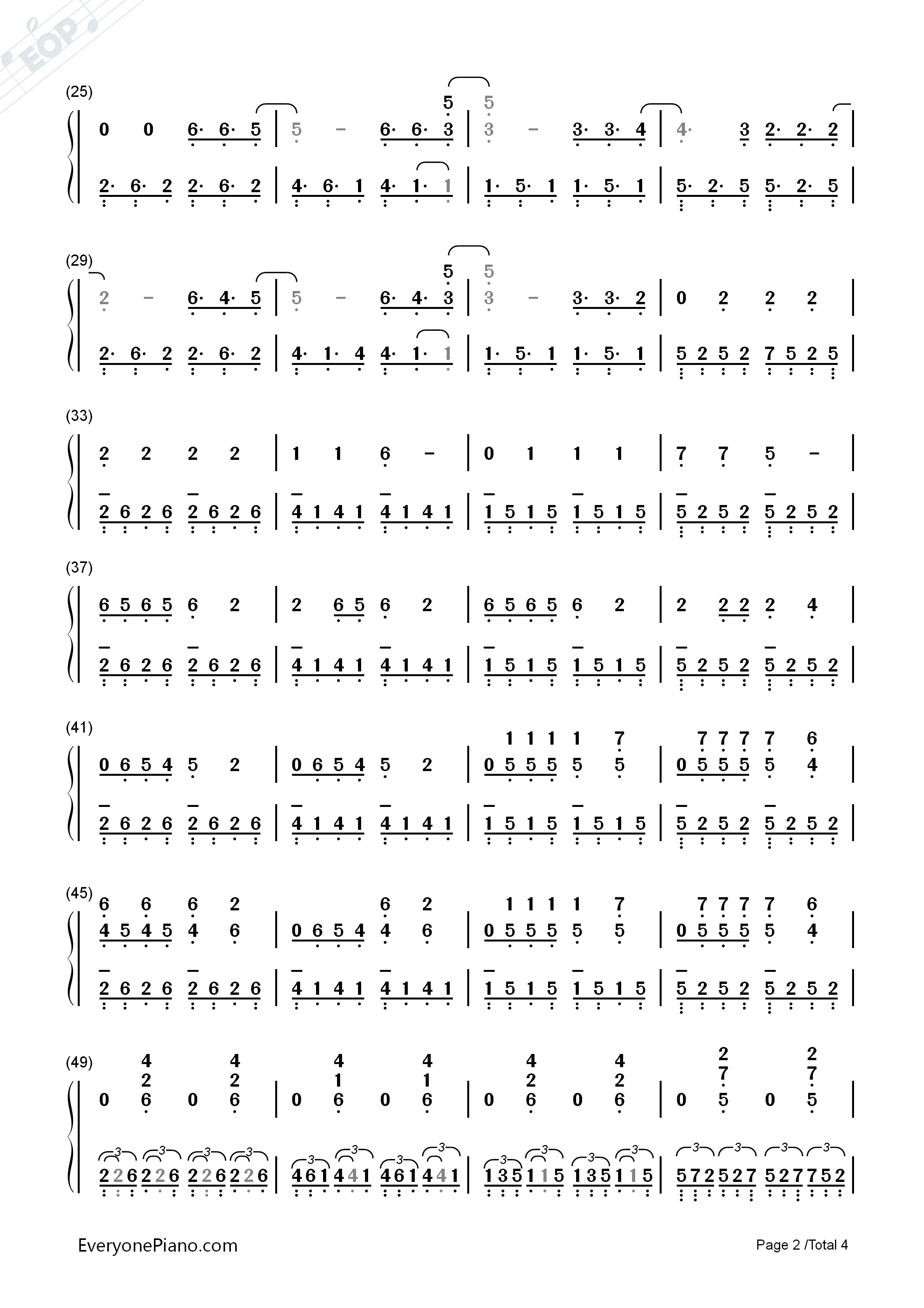 Radioactive-Imagine Dragon Numbered Musical Notation Preview 2-Free Piano Sheet Music u0026 Piano Chords