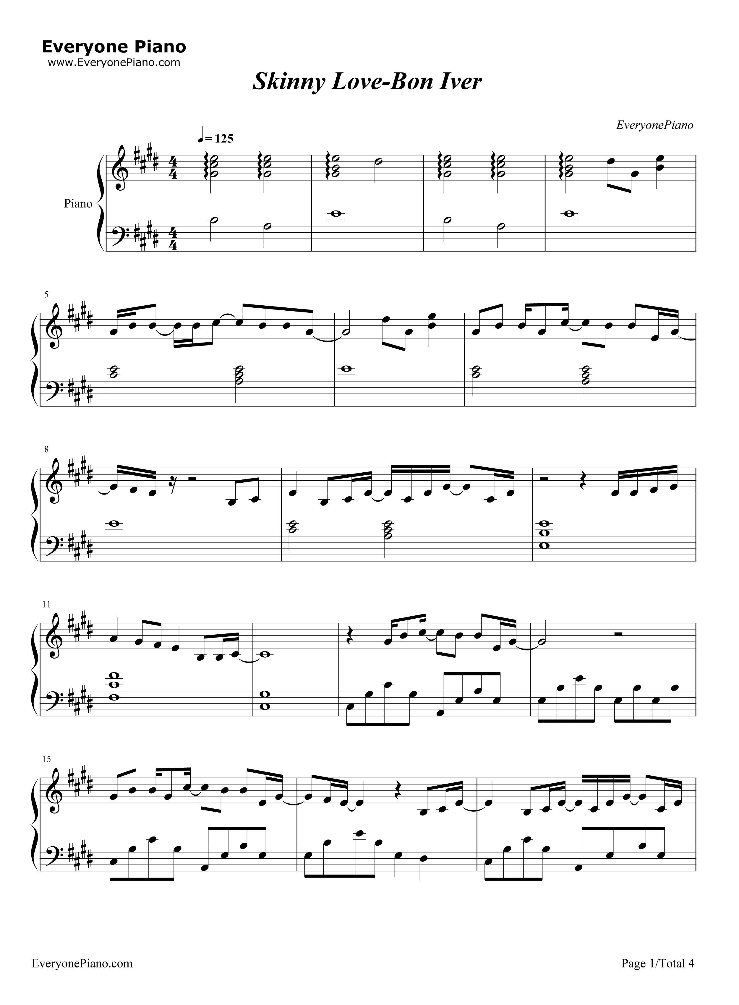 Skinny Love-Bon Iver Stave Preview 1-Free Piano Sheet Music u0026 Piano Chords