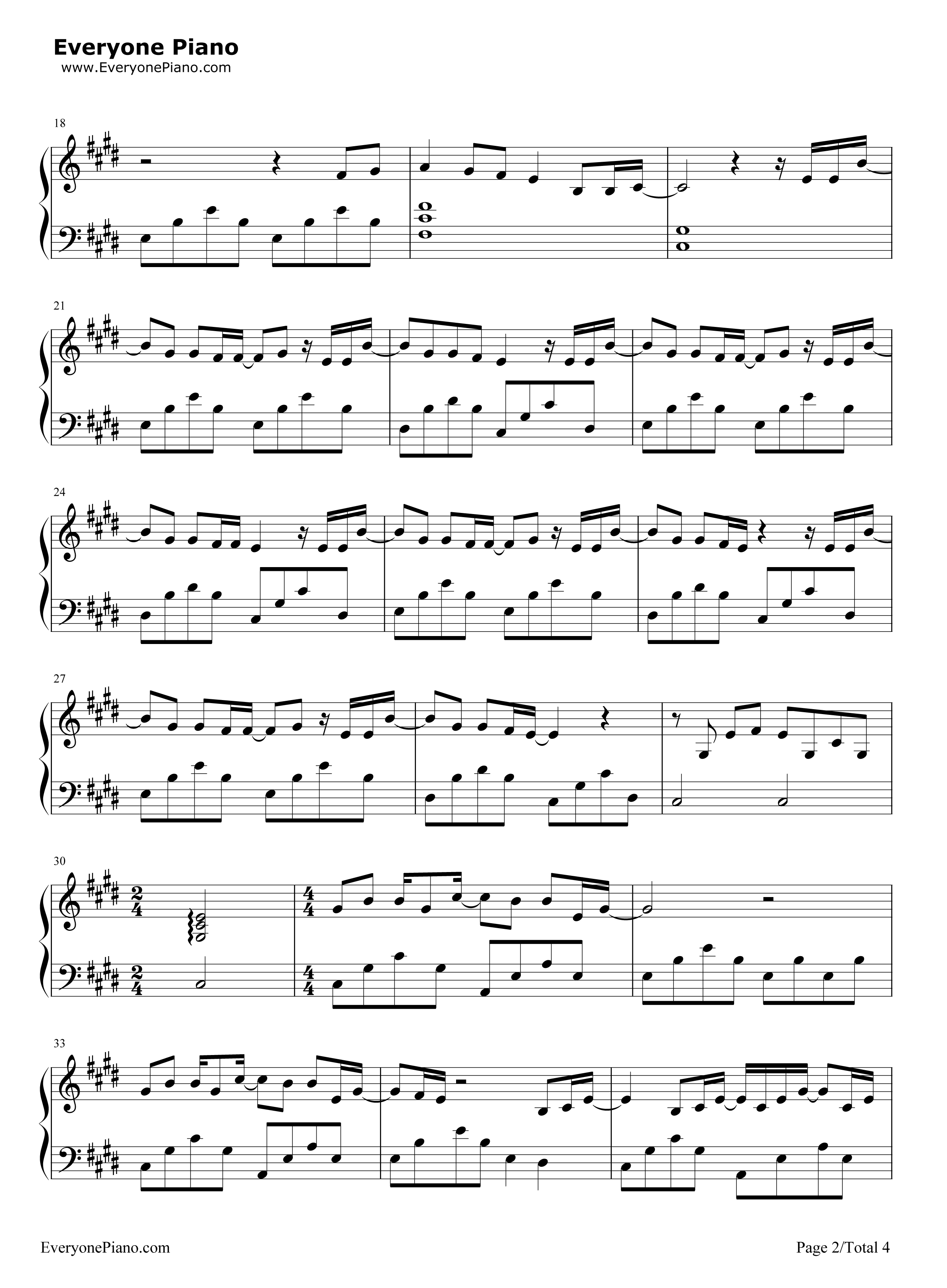Skinny Love-Bon Iver Stave Preview 2-Free Piano Sheet Music u0026 Piano Chords