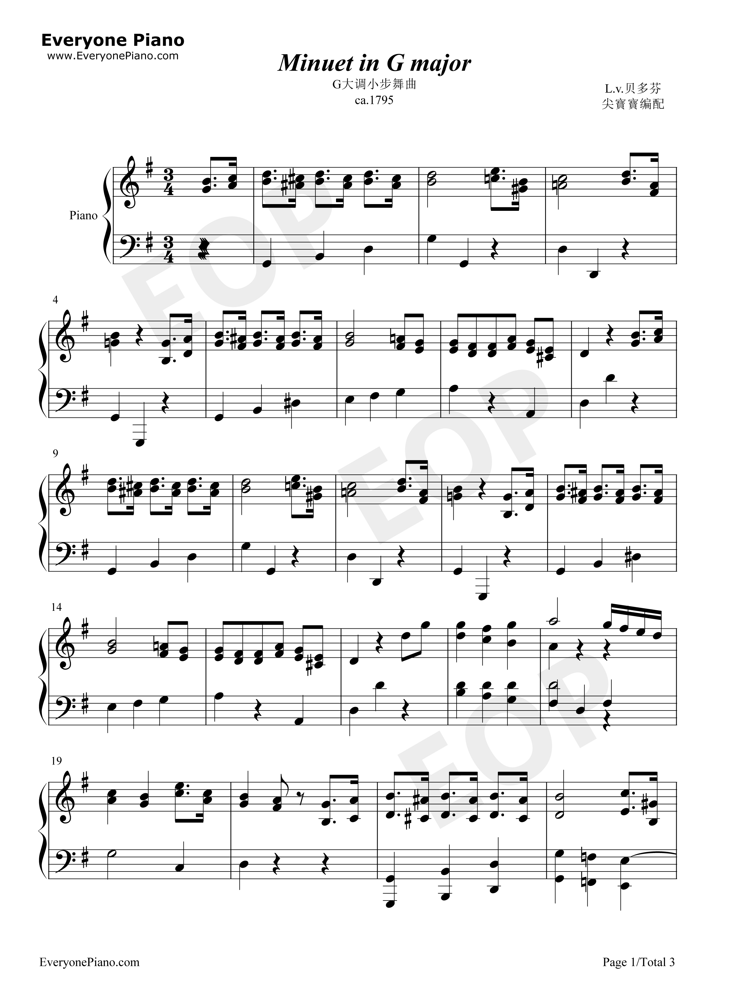 Minuet in G major-Beethoven Stave Preview