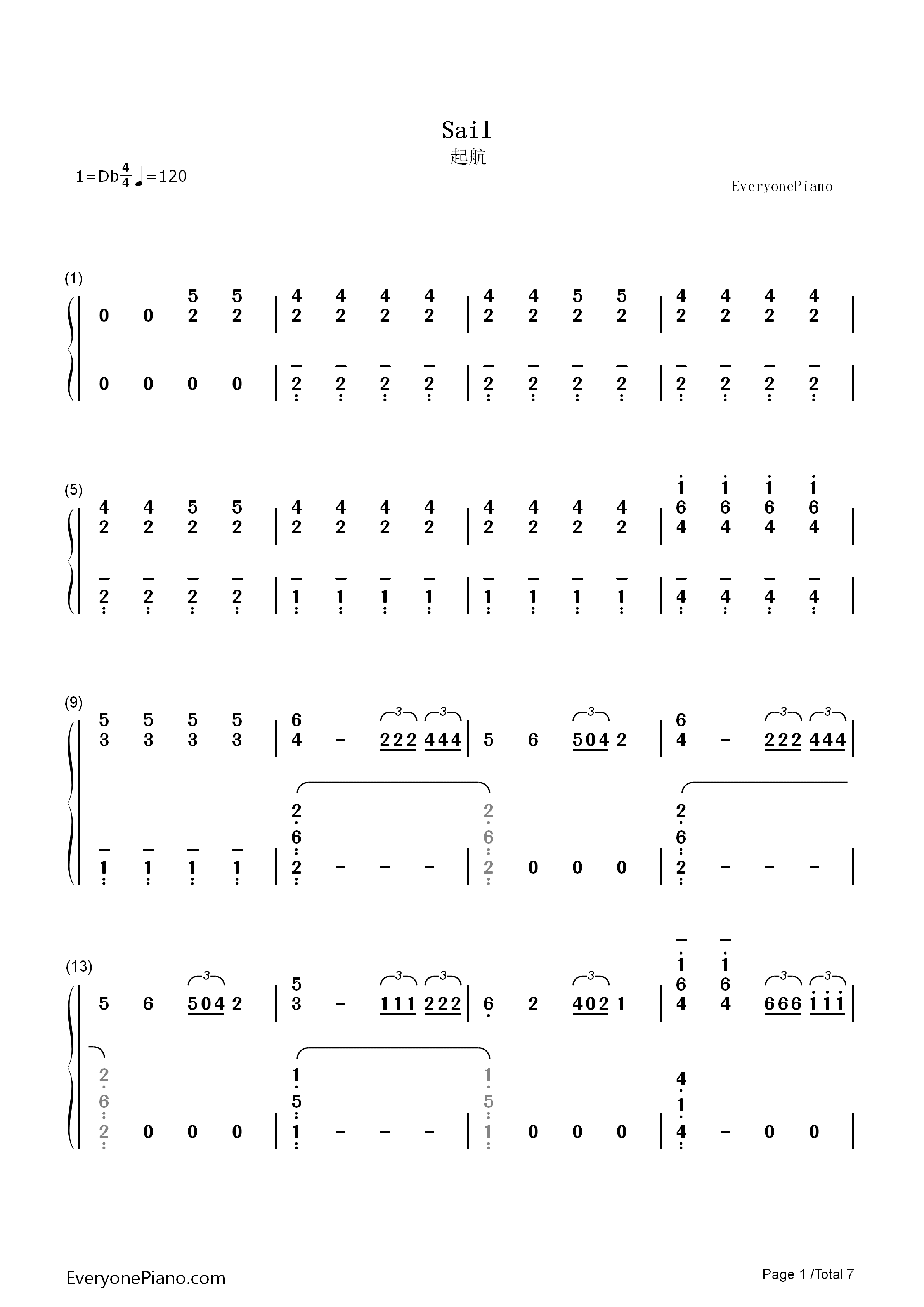 Sail-Awolnation Numbered Musical Notation Preview 1
