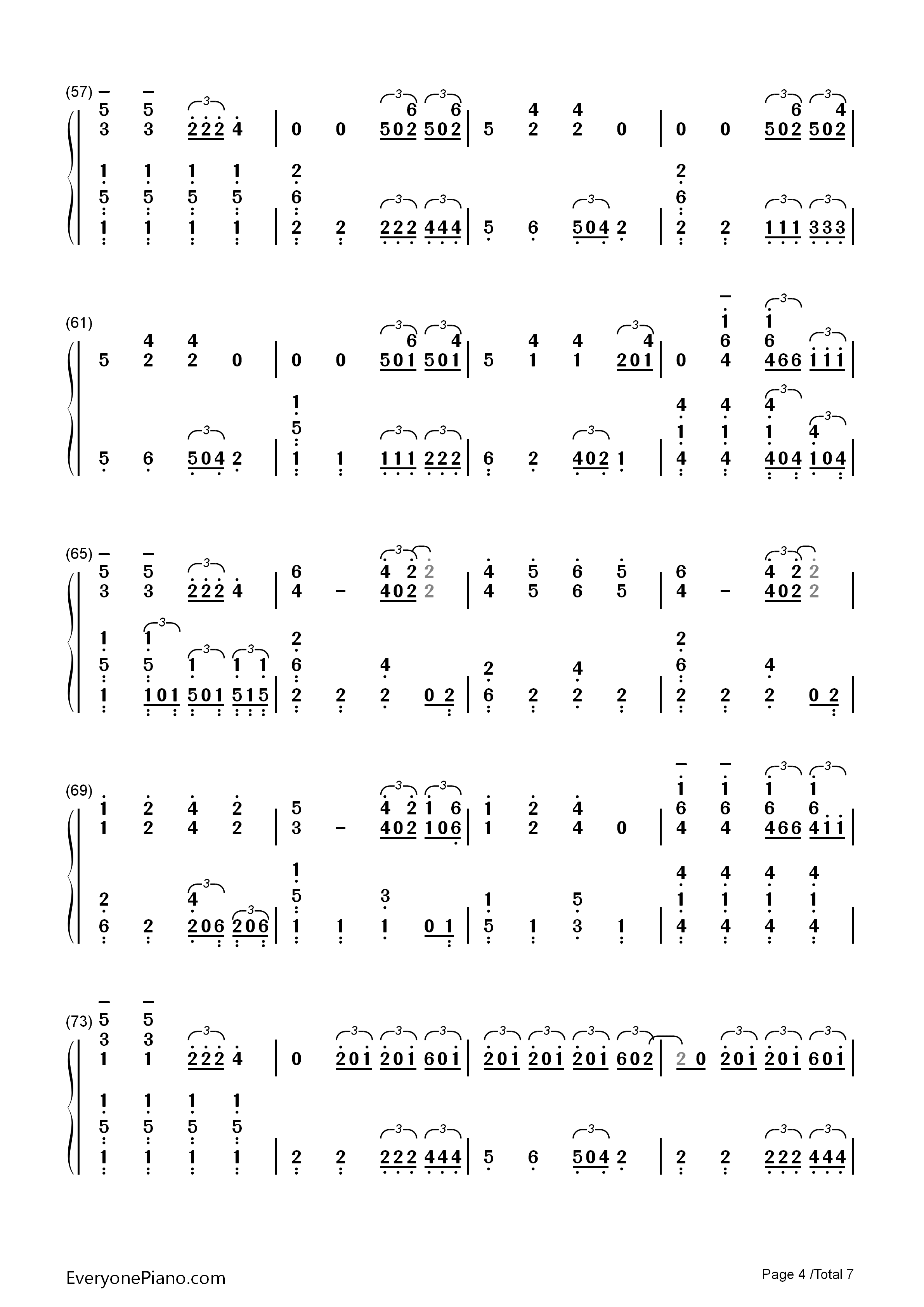 Sail-Awolnation Numbered Musical Notation Preview 4