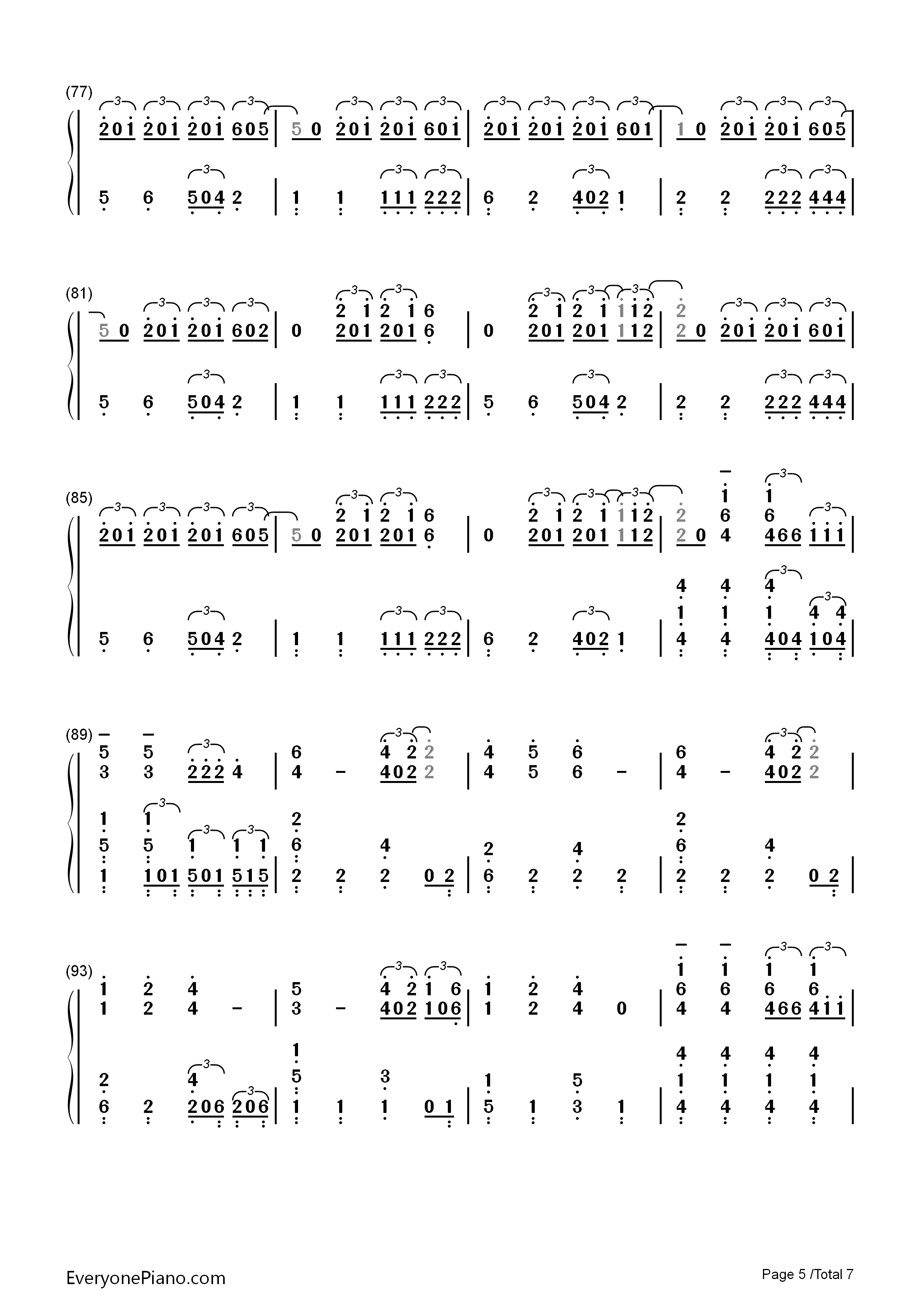 Sail-Awolnation Numbered Musical Notation Preview 5