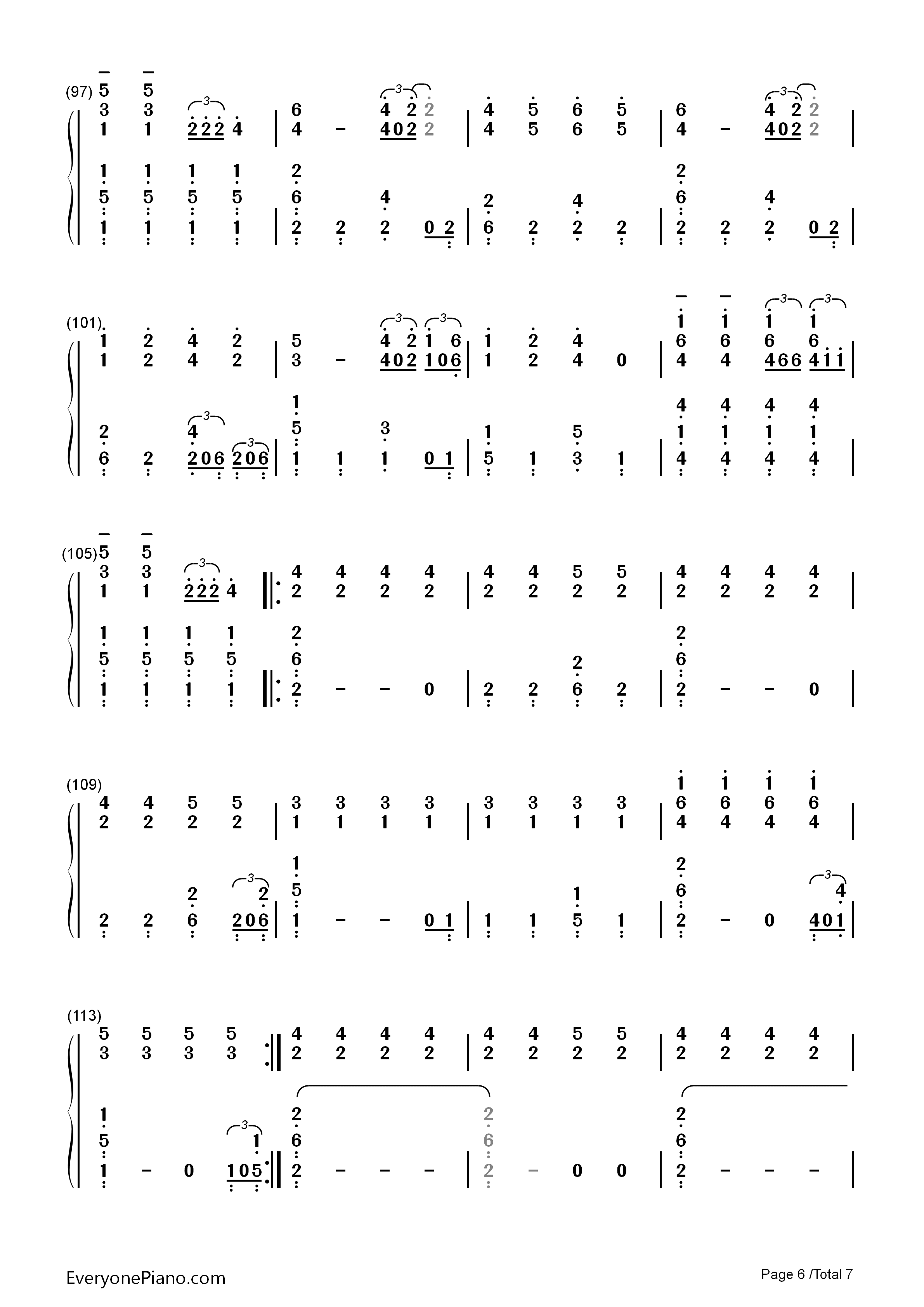 Sail-Awolnation Numbered Musical Notation Preview 6