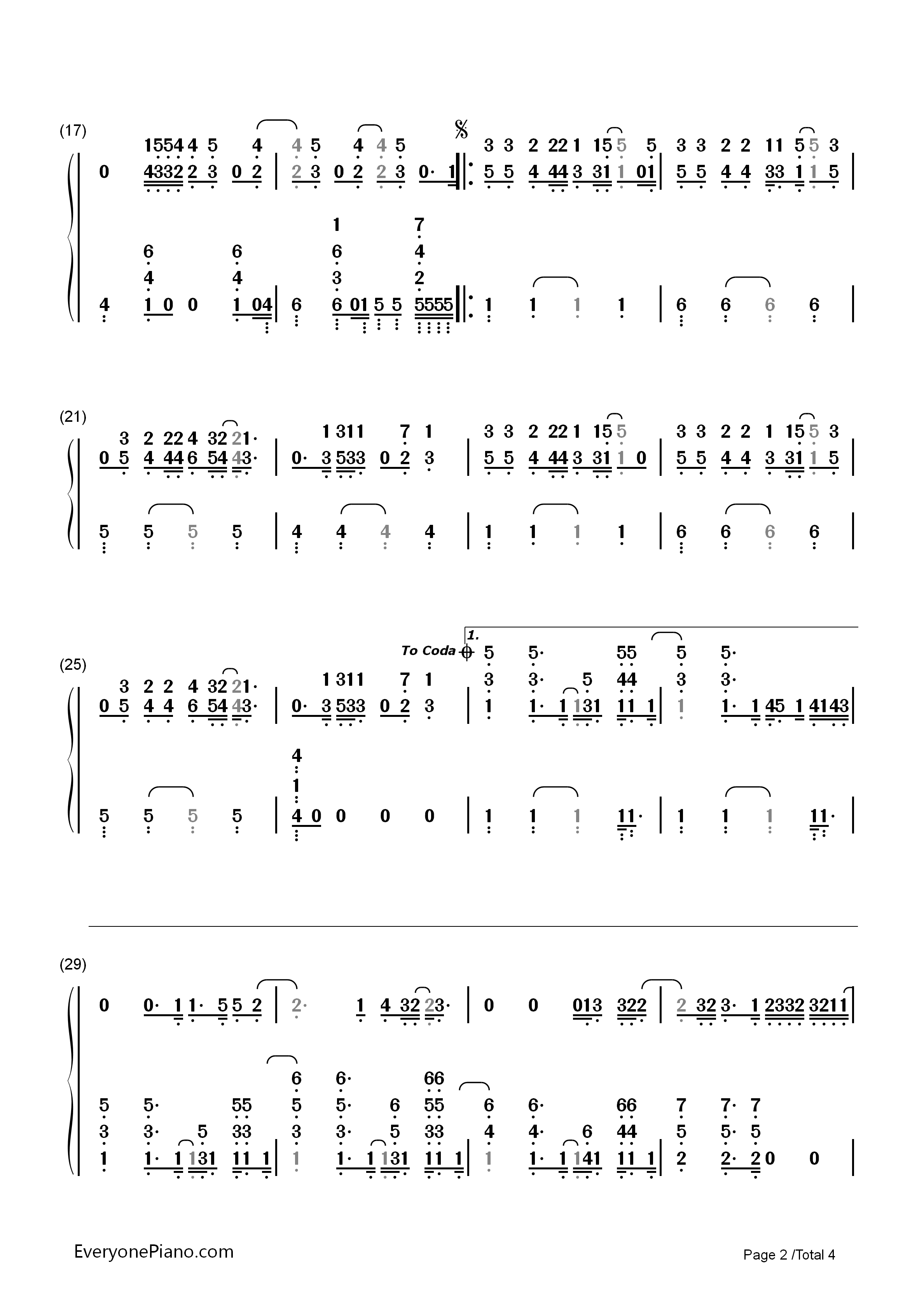 Everything Has Changed Taylor Swift Numbered Musical Notation