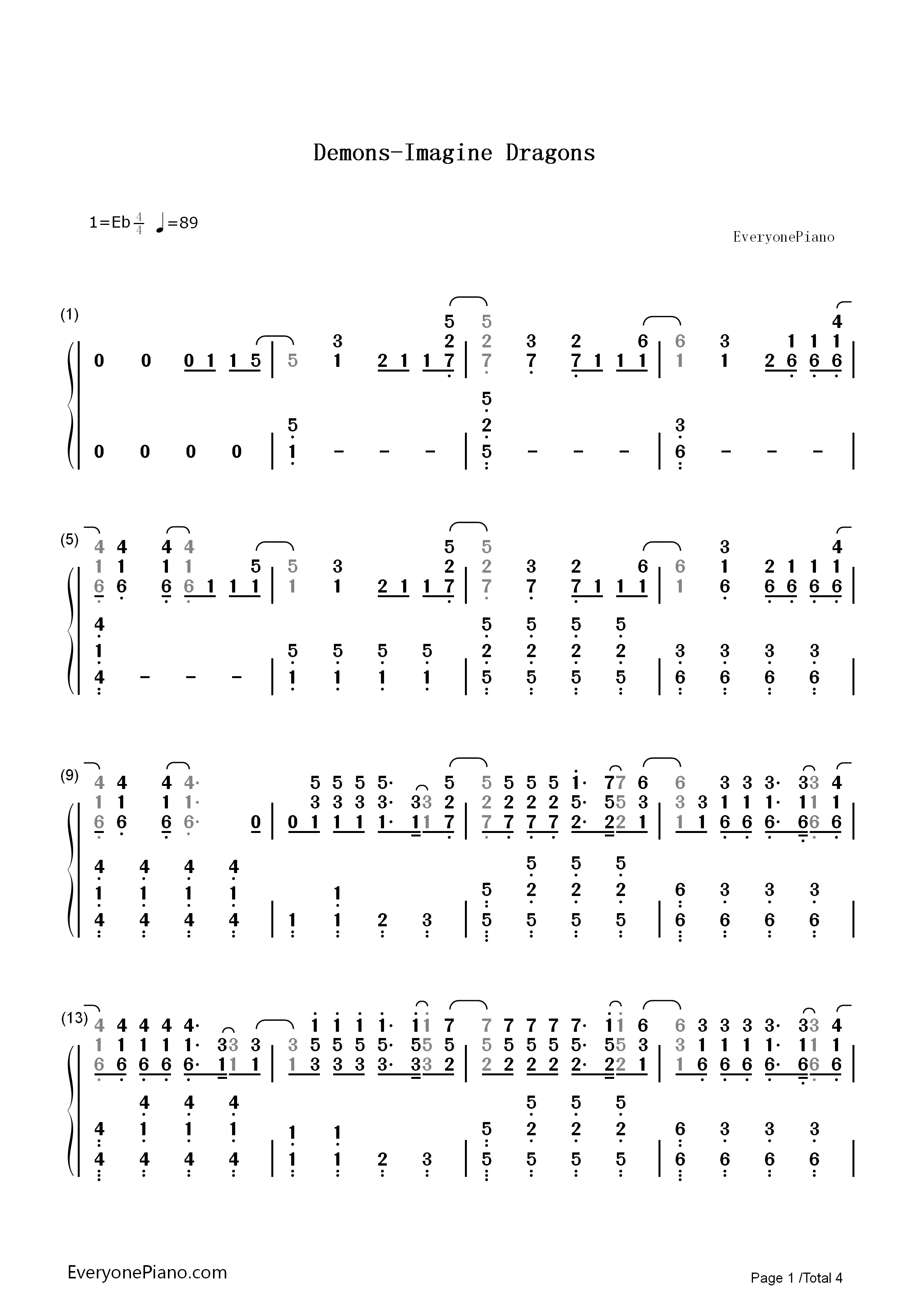 Demons-Imagine Dragons Numbered Musical Notation Preview 1