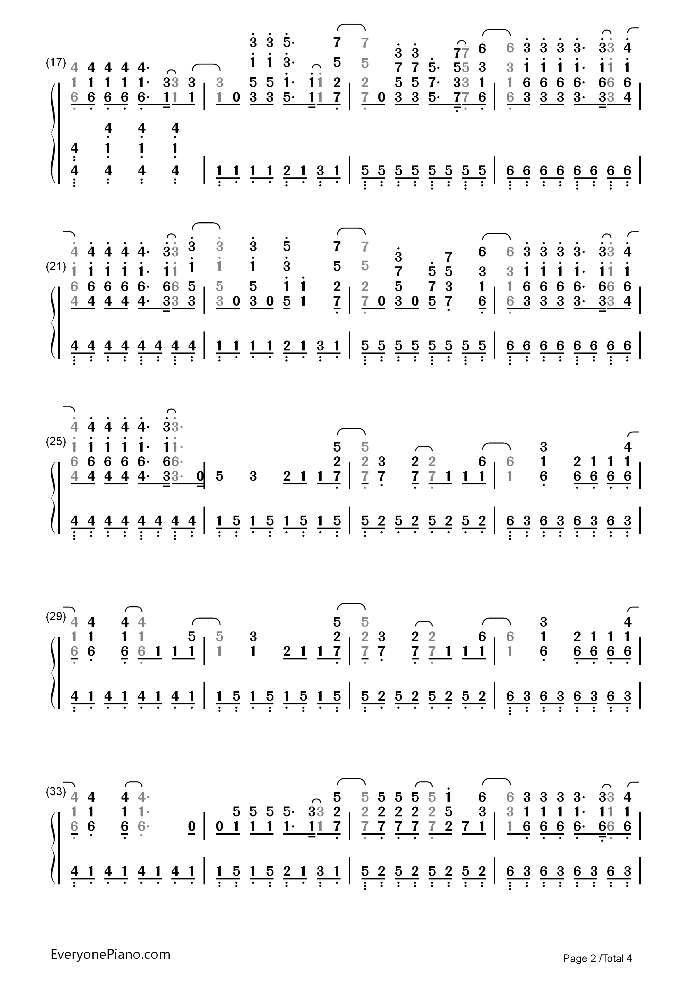 Demons-Imagine Dragons Numbered Musical Notation Preview 2
