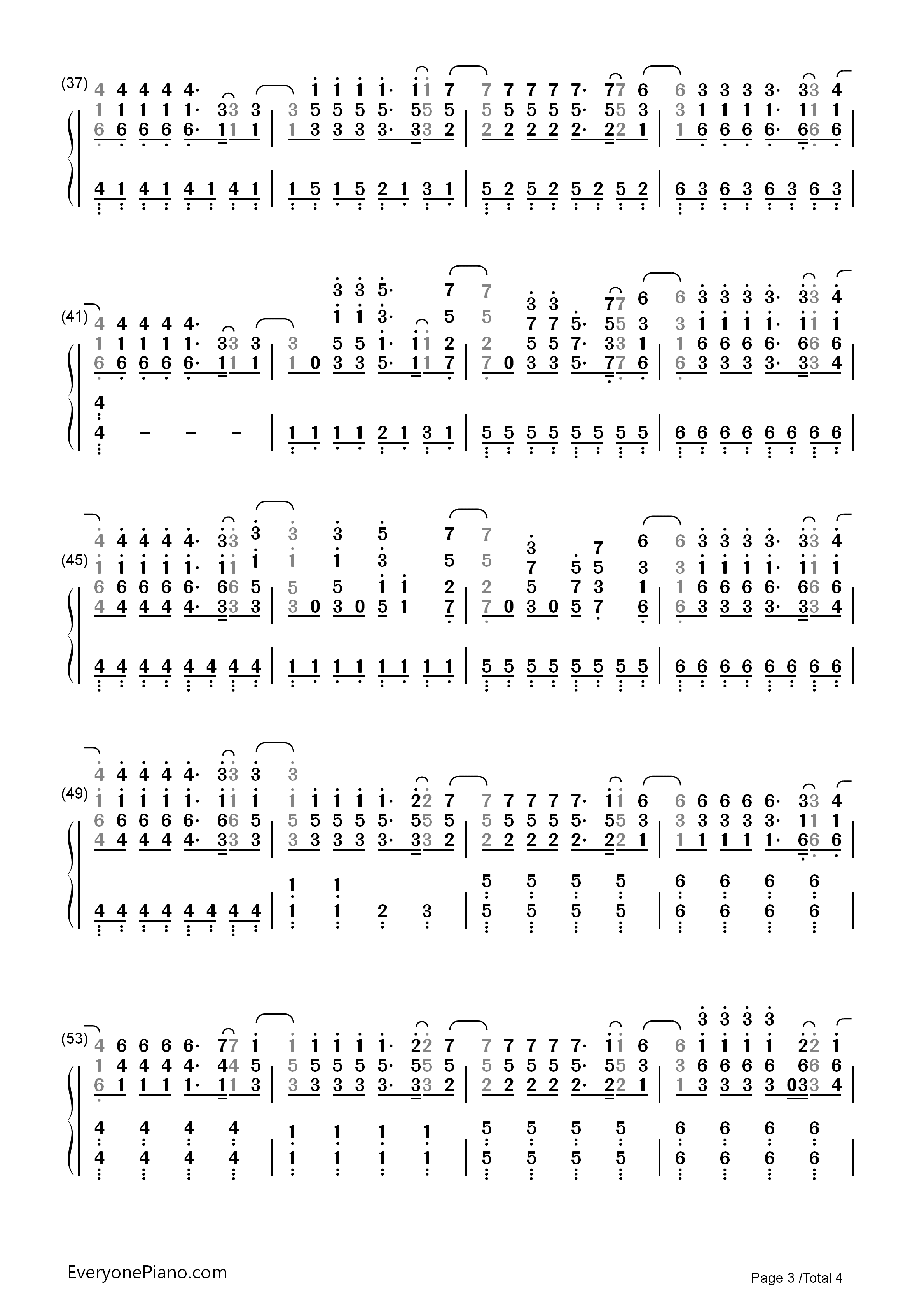 Demons-Imagine Dragons Numbered Musical Notation Preview 3