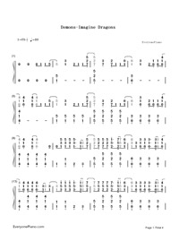 Demons-Imagine Dragons-Numbered-Musical-Notation-Preview-1
