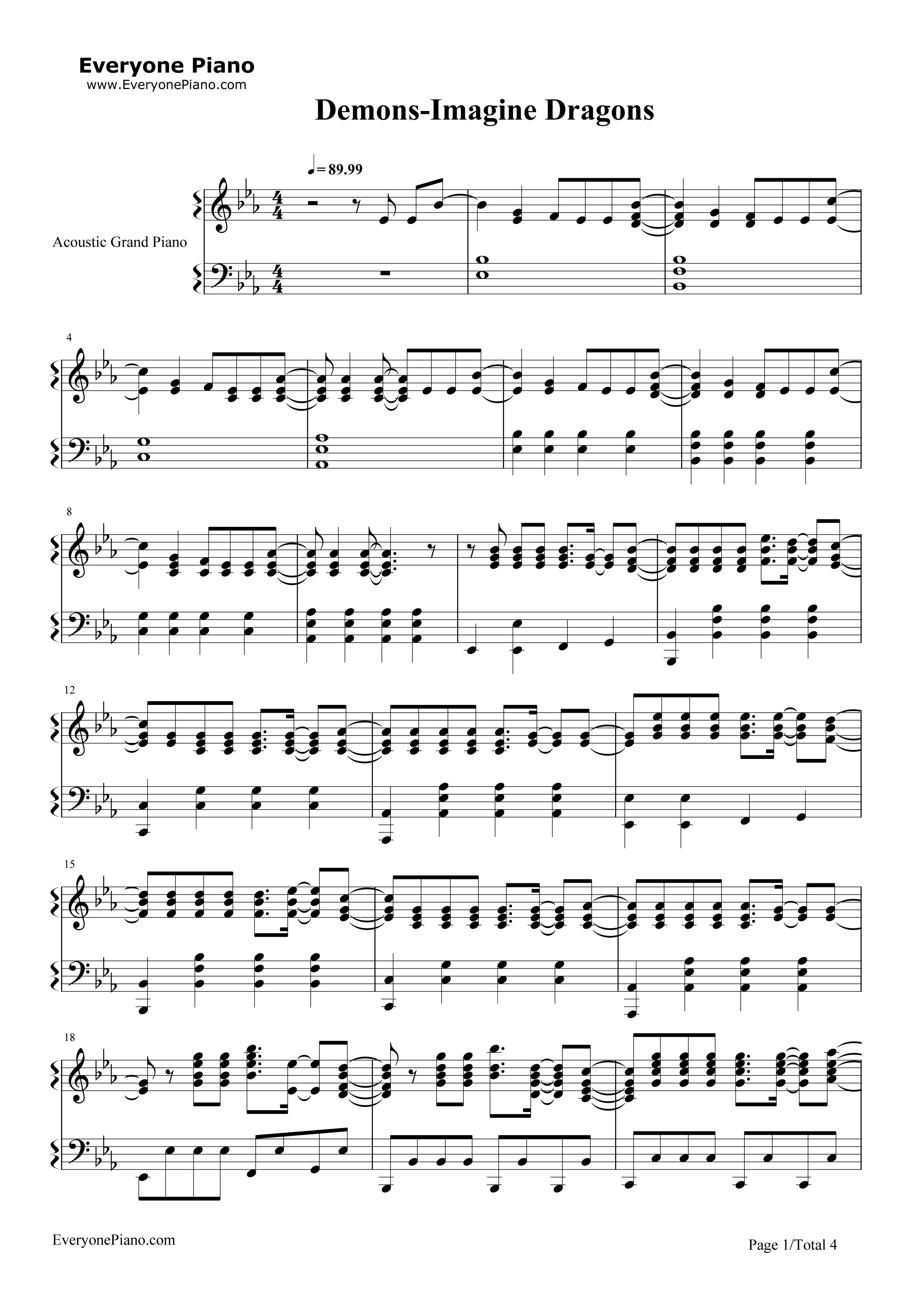 imagine piano sheet