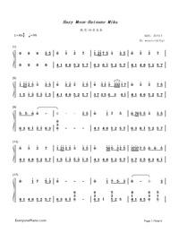 朧月-流星P-初音ミク両手略譜プレビュー1