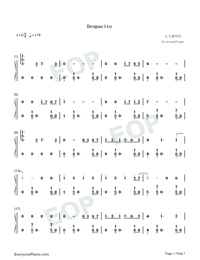 Despacito-Super Easy-Piano Version Numbered Musical Notation Preview 1