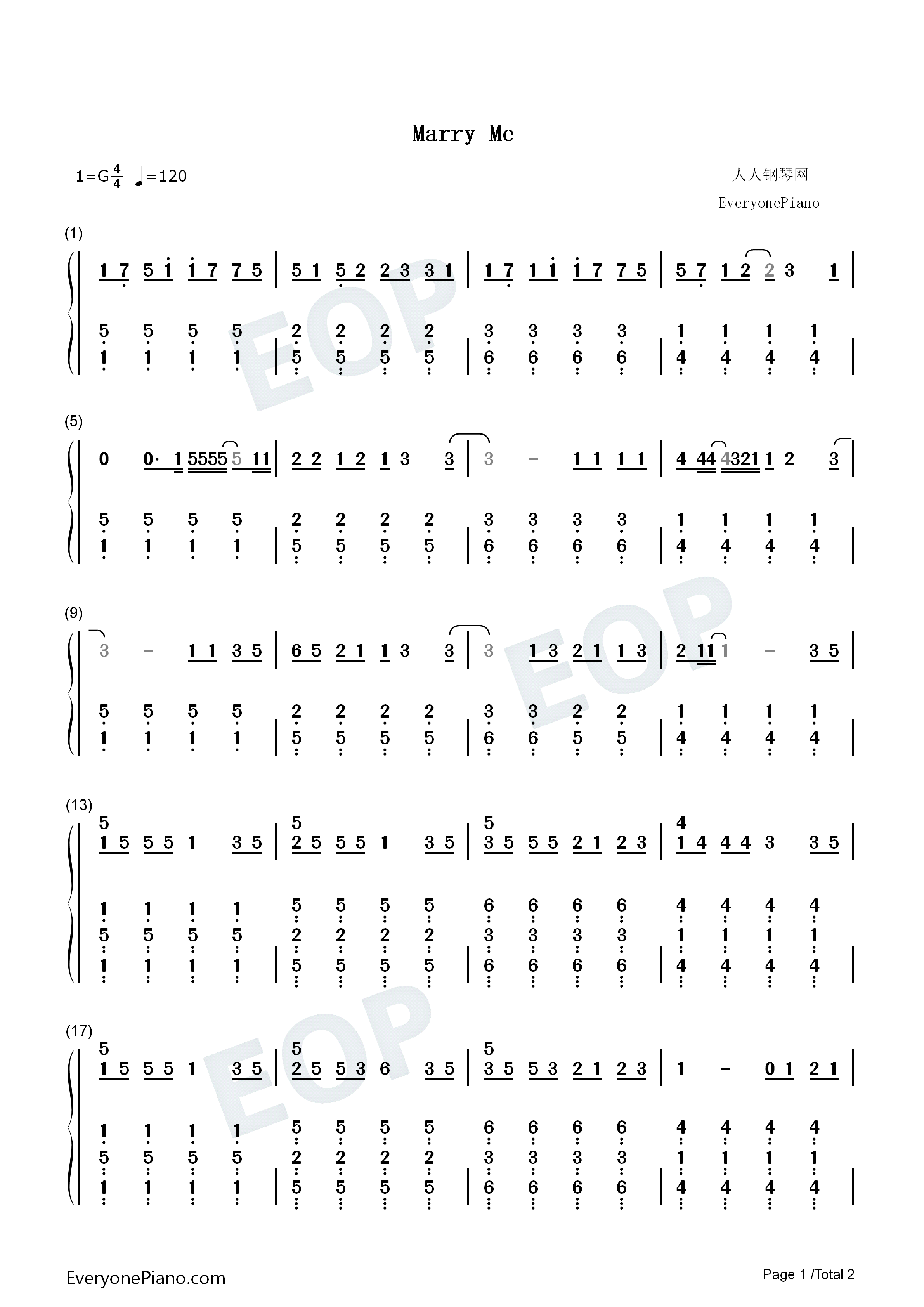 Marry me jason derulo numbered musical notation preview 1 free piano