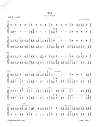 Red-Taylor Swift-Numbered-Musical-Notation-Preview-1