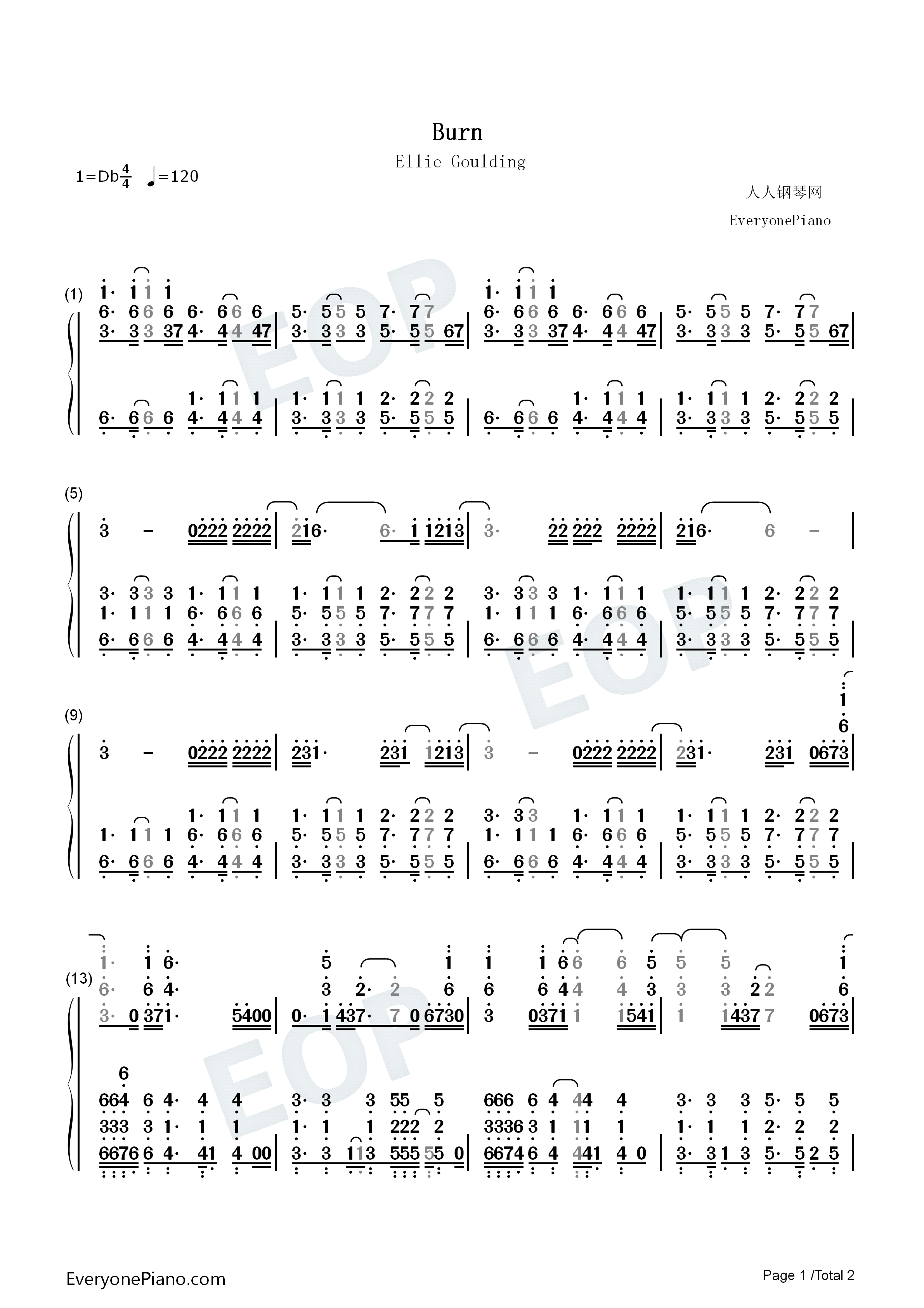Burn ellie goulding numbered musical notation preview 1 free listen now print sheet burn ellie goulding numbered musical notation preview 1 hexwebz Image collections