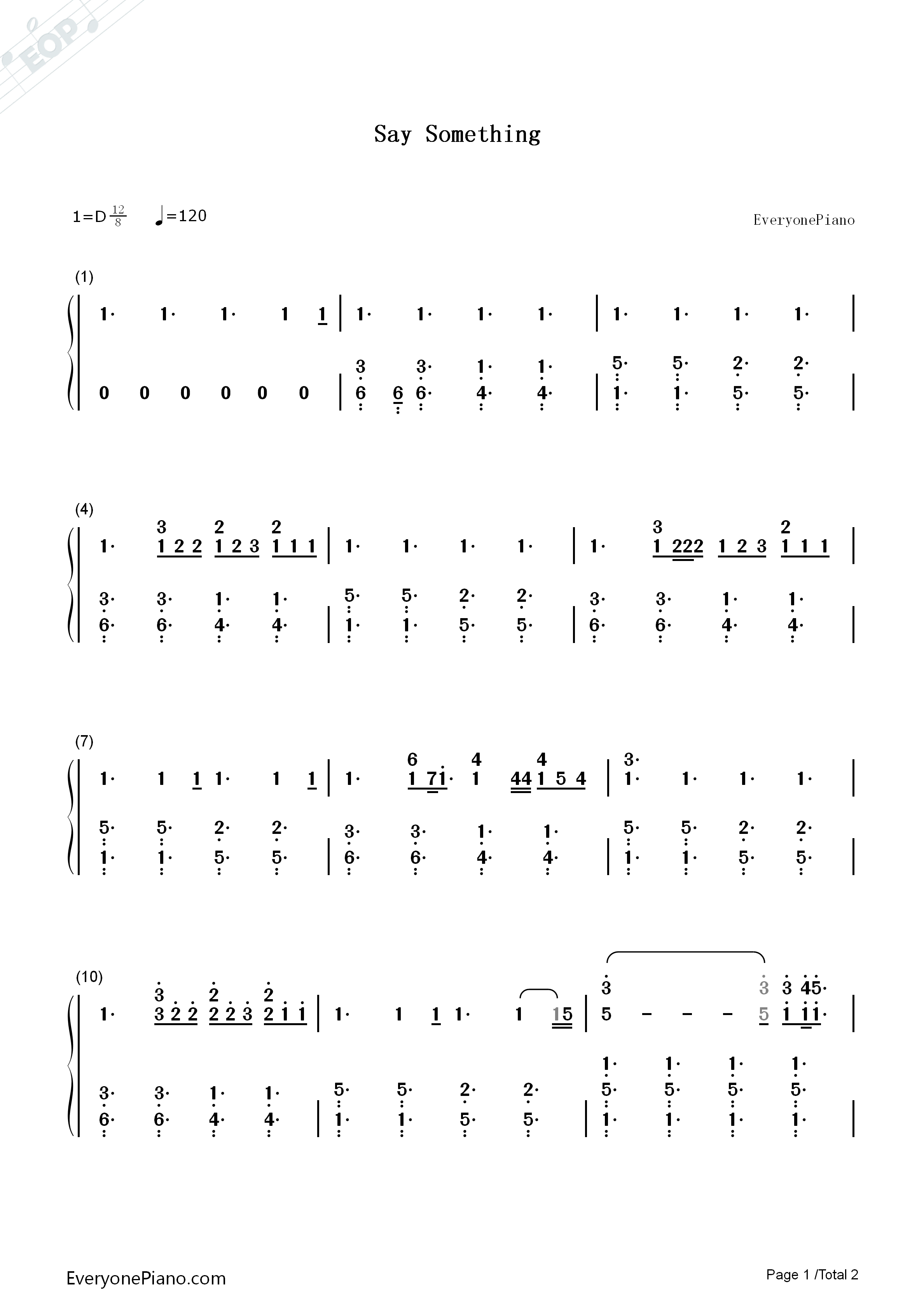 Say Something Numbered Musical Notation Preview 1-Free Piano Sheet Music u0026 Piano Chords