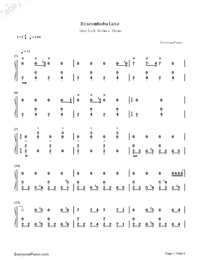 Discombobulate-Sherlock Holmes Theme-Numbered-Musical-Notation-Preview-1