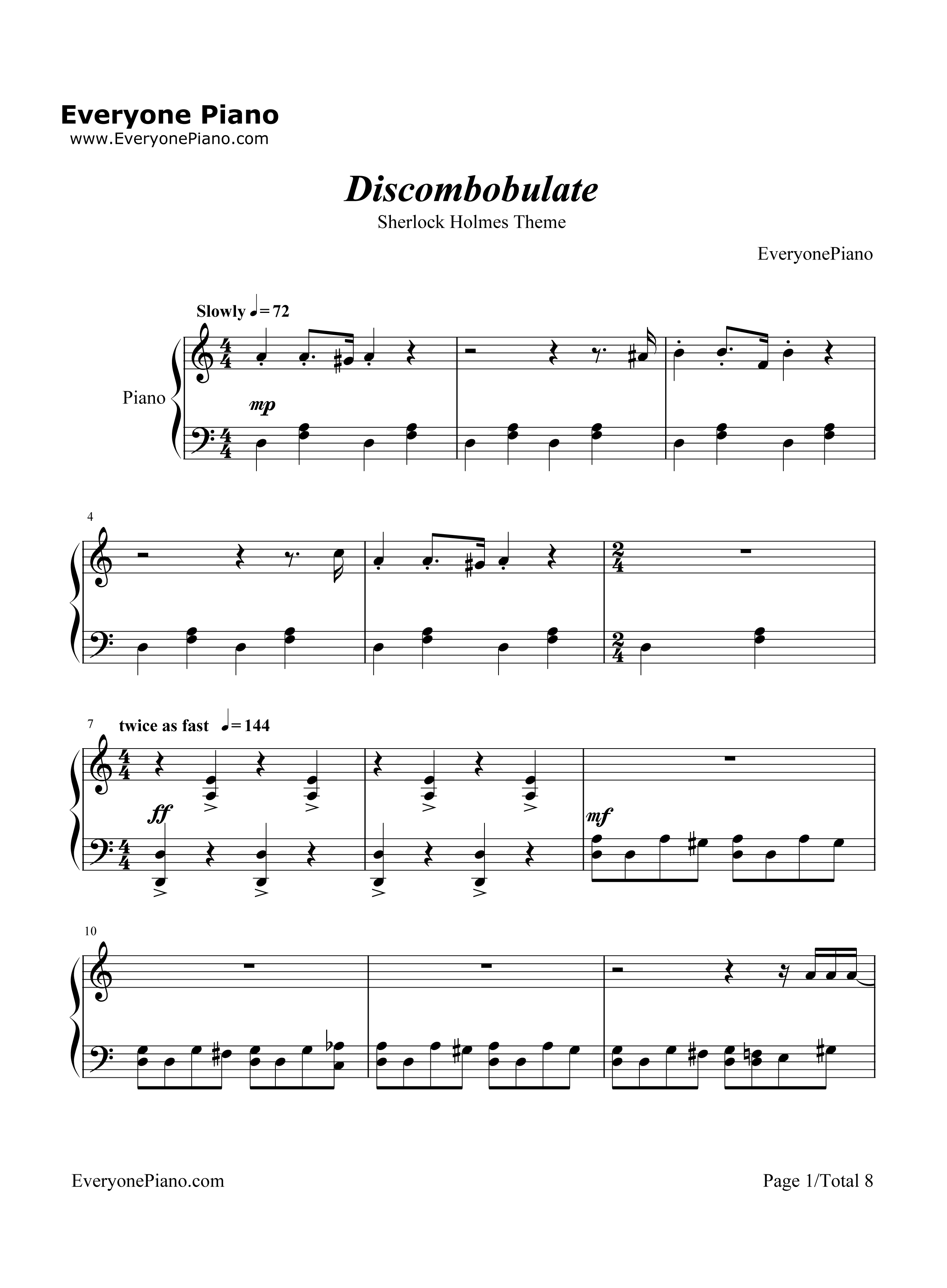 Discombobulate-Sherlock Holmes Theme Stave Preview