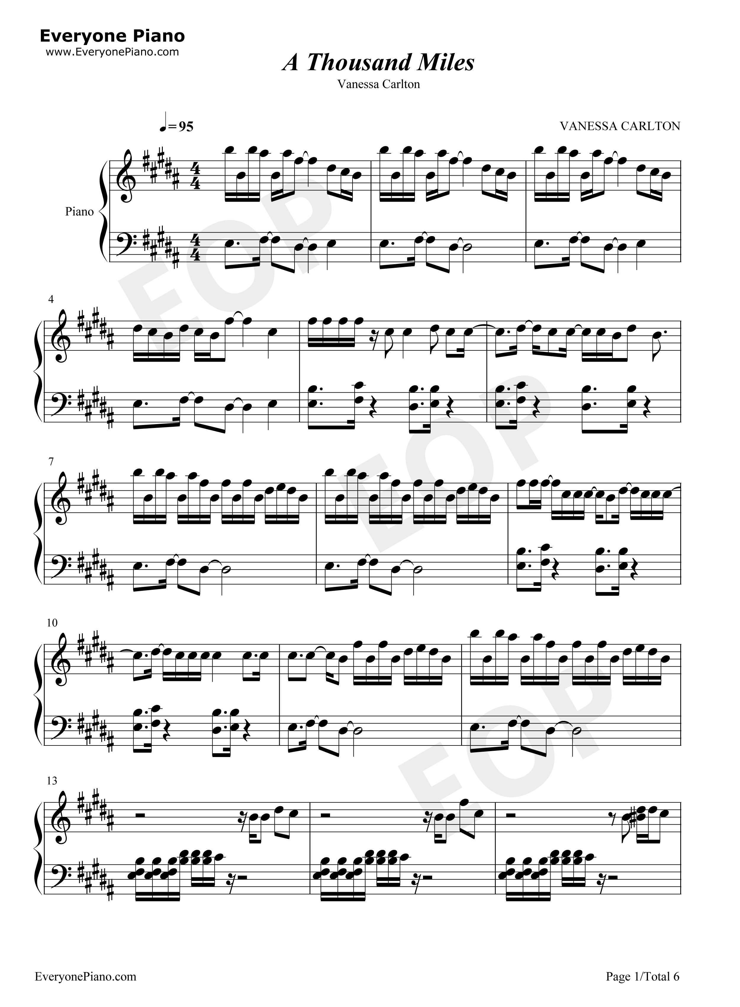 A Thousand Miles-Vanessa Carlton Stave Preview 1-Free Piano Sheet Music u0026 Piano Chords
