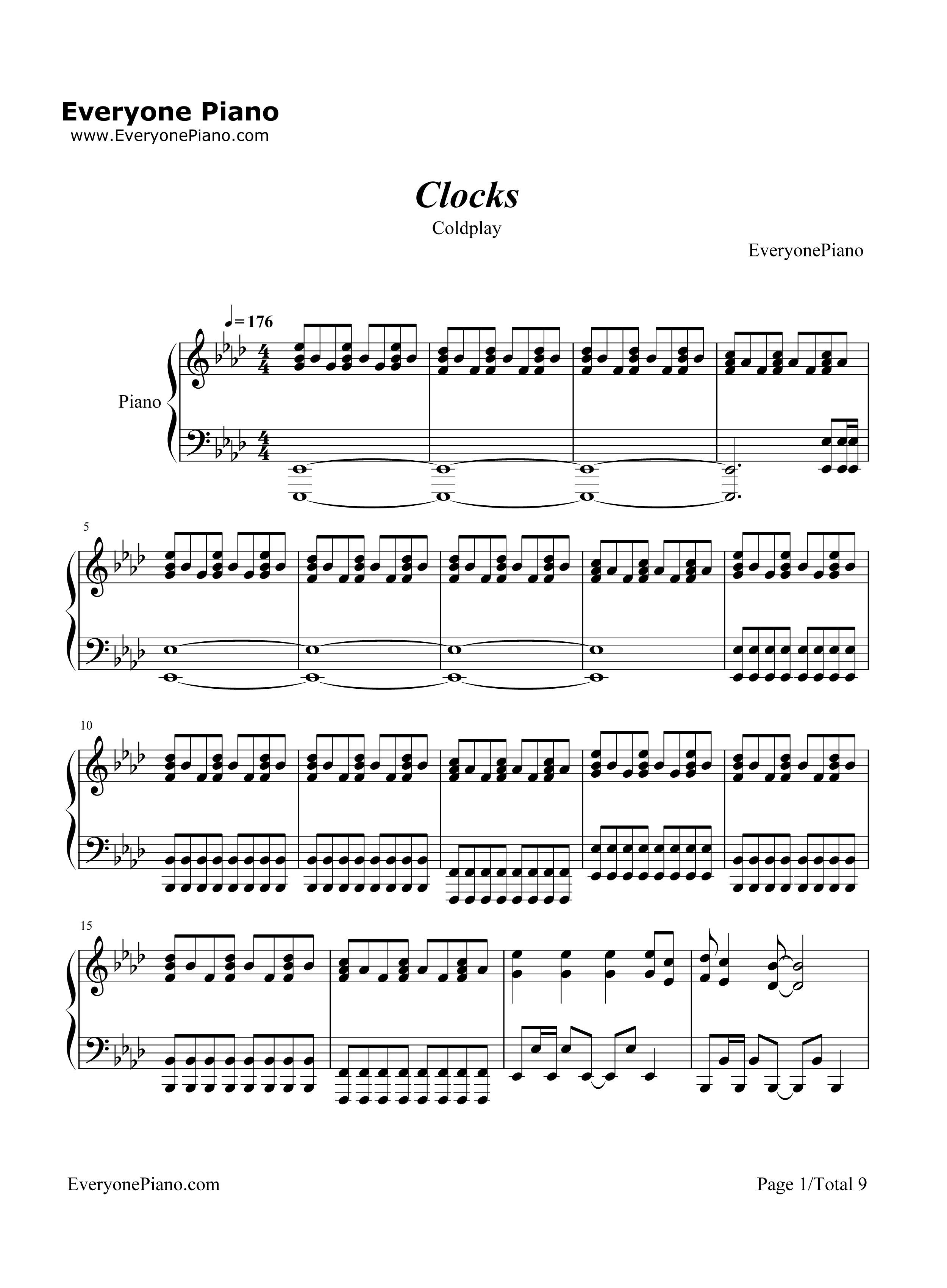 coldplay clocks piano sheet music Car Tuning