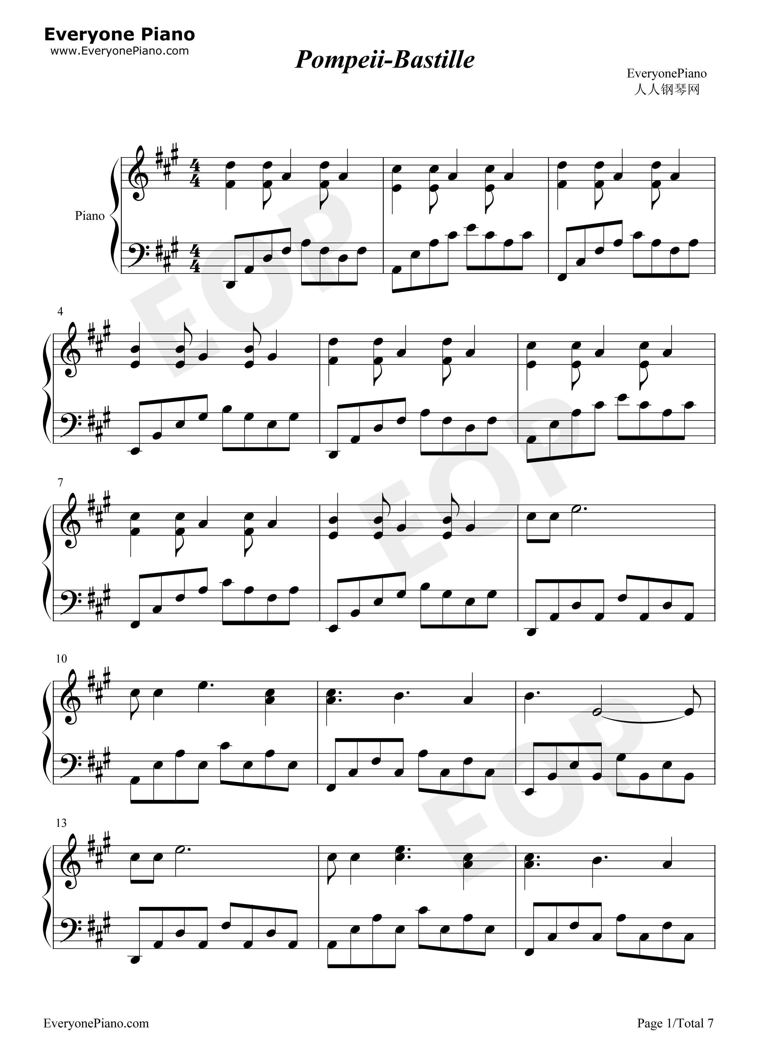 Pompeii Full Version-Bastille Stave Preview 1-Free Piano Sheet Music u0026 Piano Chords