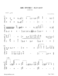 Journey(Dream Of Flight)-The Wind Rises OST-Numbered-Musical-Notation-Preview-1