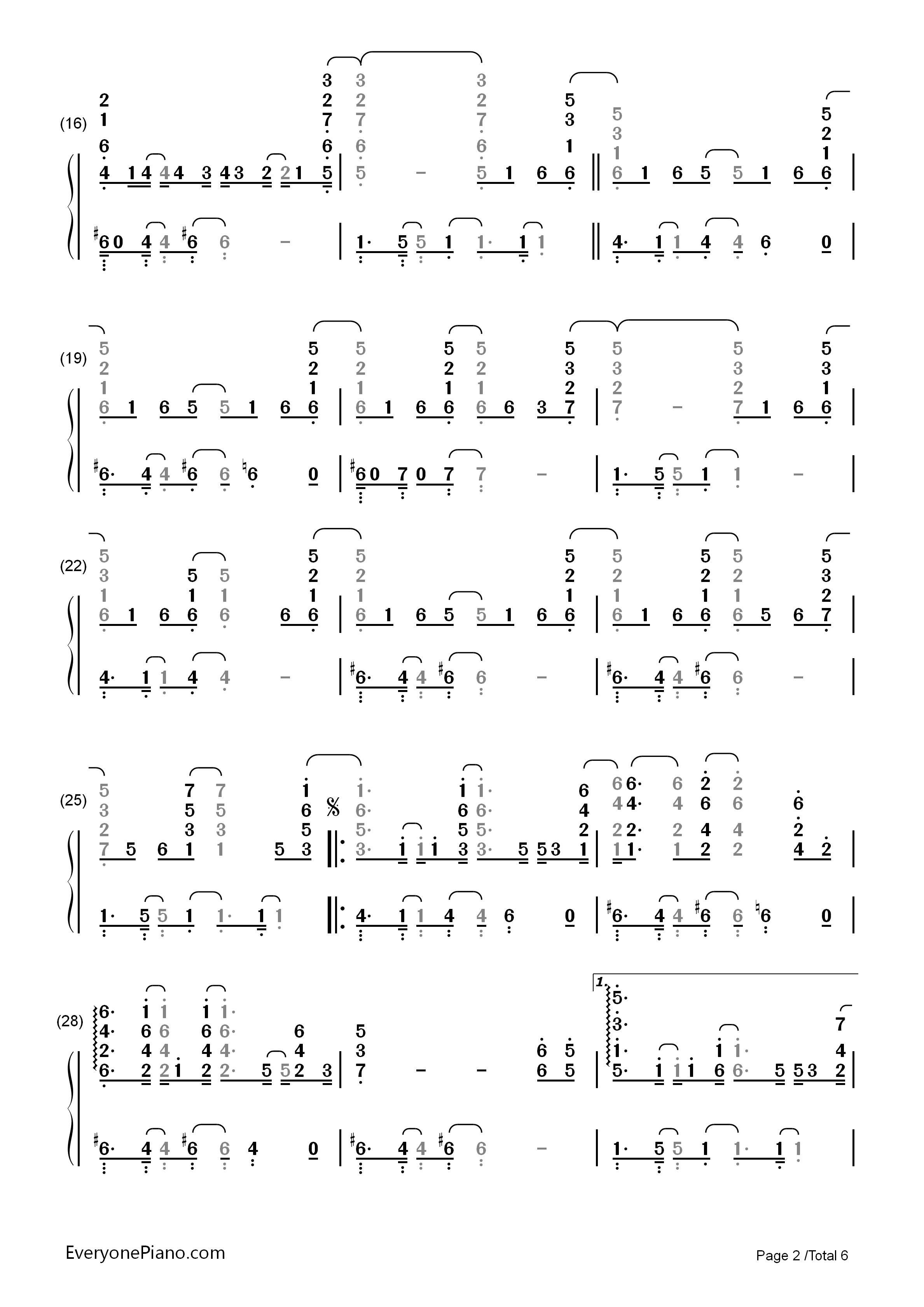 Ordinary People-John Legend Numbered Musical Notation Preview 2