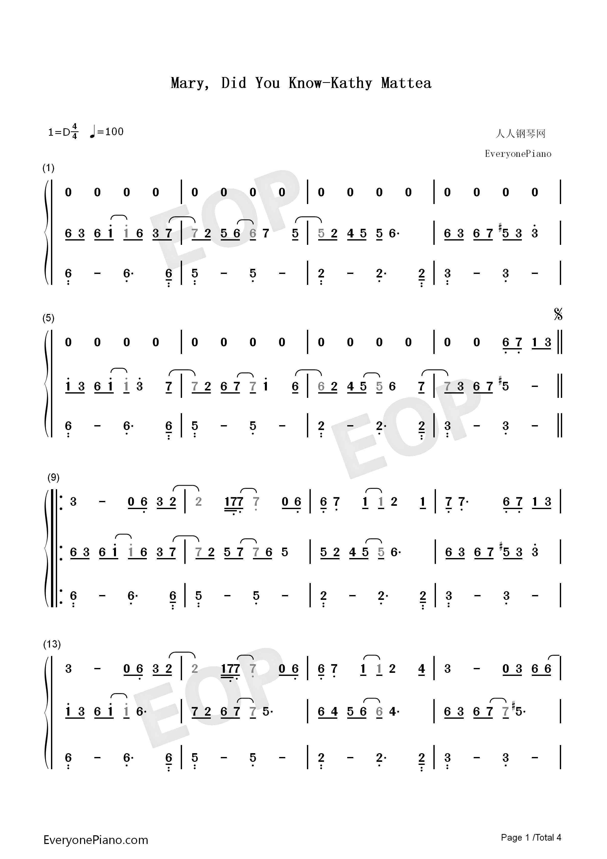 Mary Did You Know-Kathy Mattea Numbered Musical Notation Preview 1